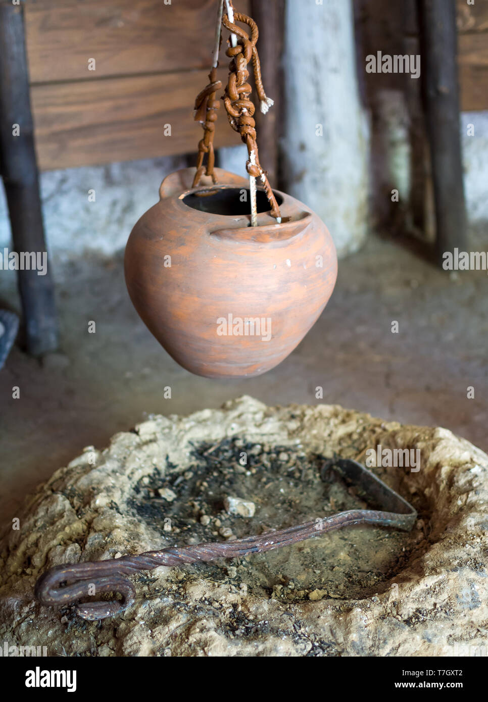 The hearth in the ancient settlement, the archaeological park 'From nomads to cities', Divnogorye, Voronezh region - Stock Image