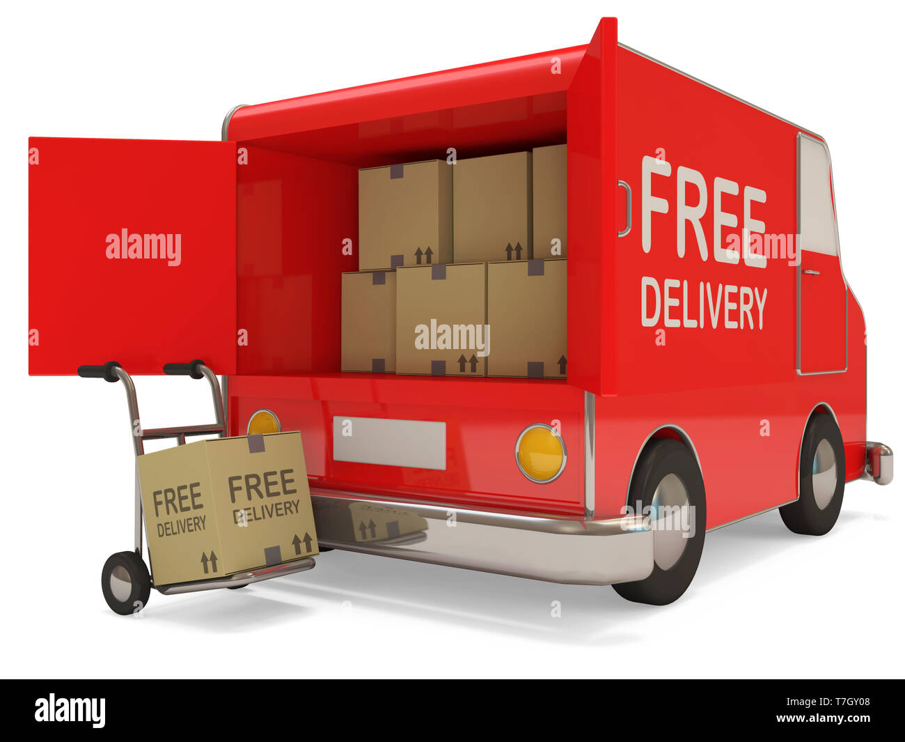 Delivery Van with a Boxes on white background. Free Delivery Concept - Stock Image