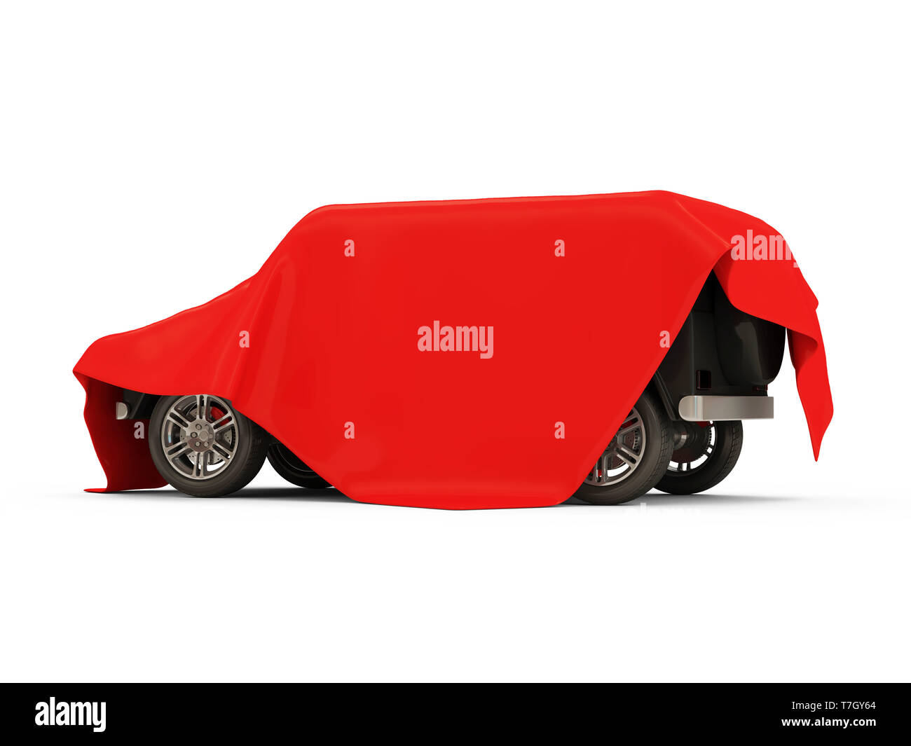 Red Cloth Fabric Covered Modern SUV Car on white background - Stock Image