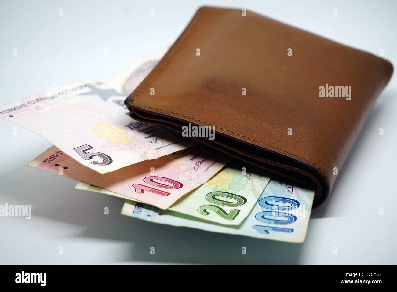 Turkish lira banknotes calculator bills and tax calculations on isolated background Stock Photo