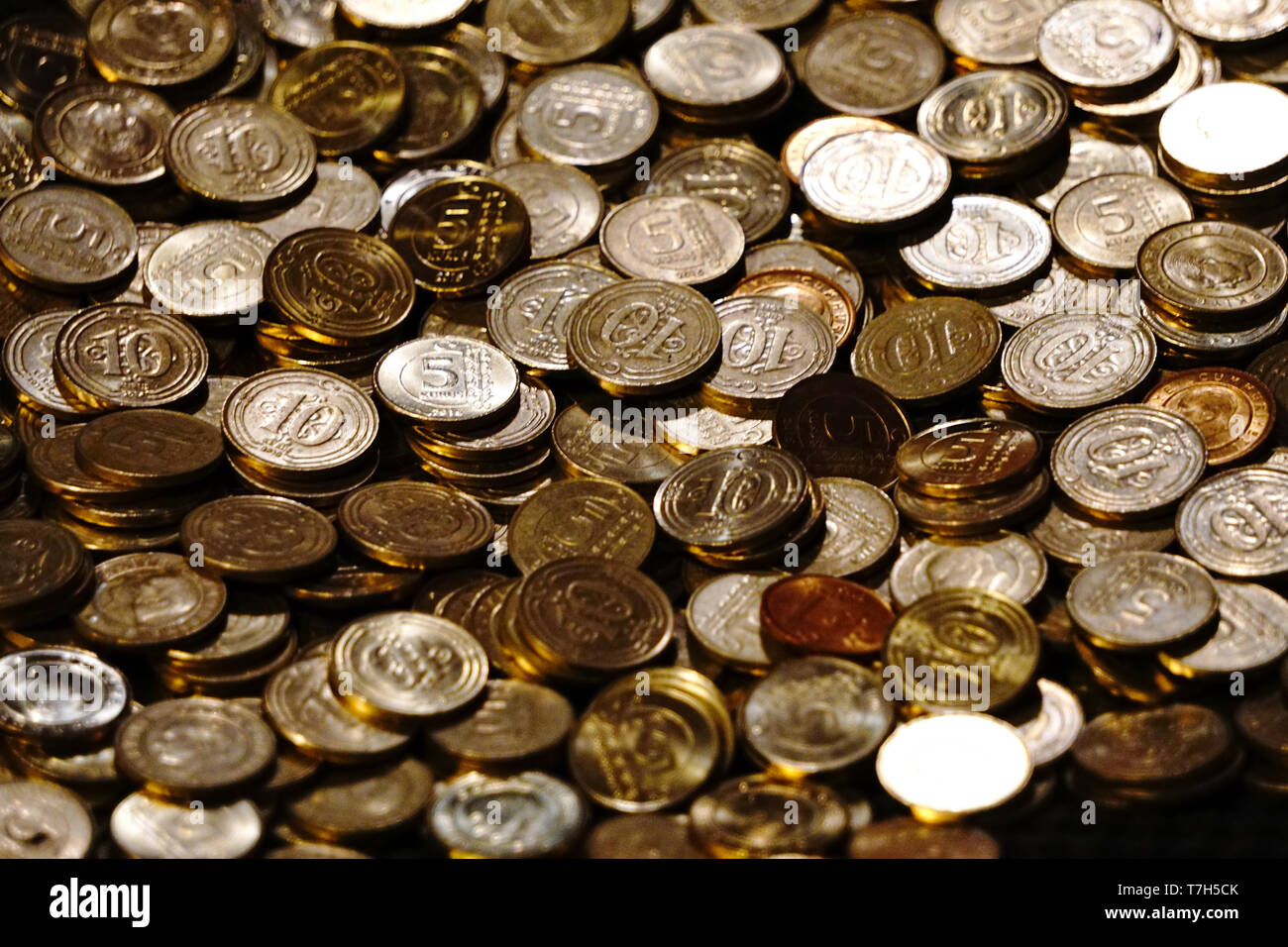Turkish Lira Coins close up view Stock Photo