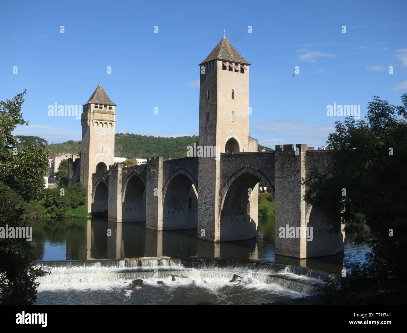 Town of Cahors along the GR 65, Via Podiensis, also know as Le Puy Route, in southern France. French part of the Camino de Santiago. - Stock Image