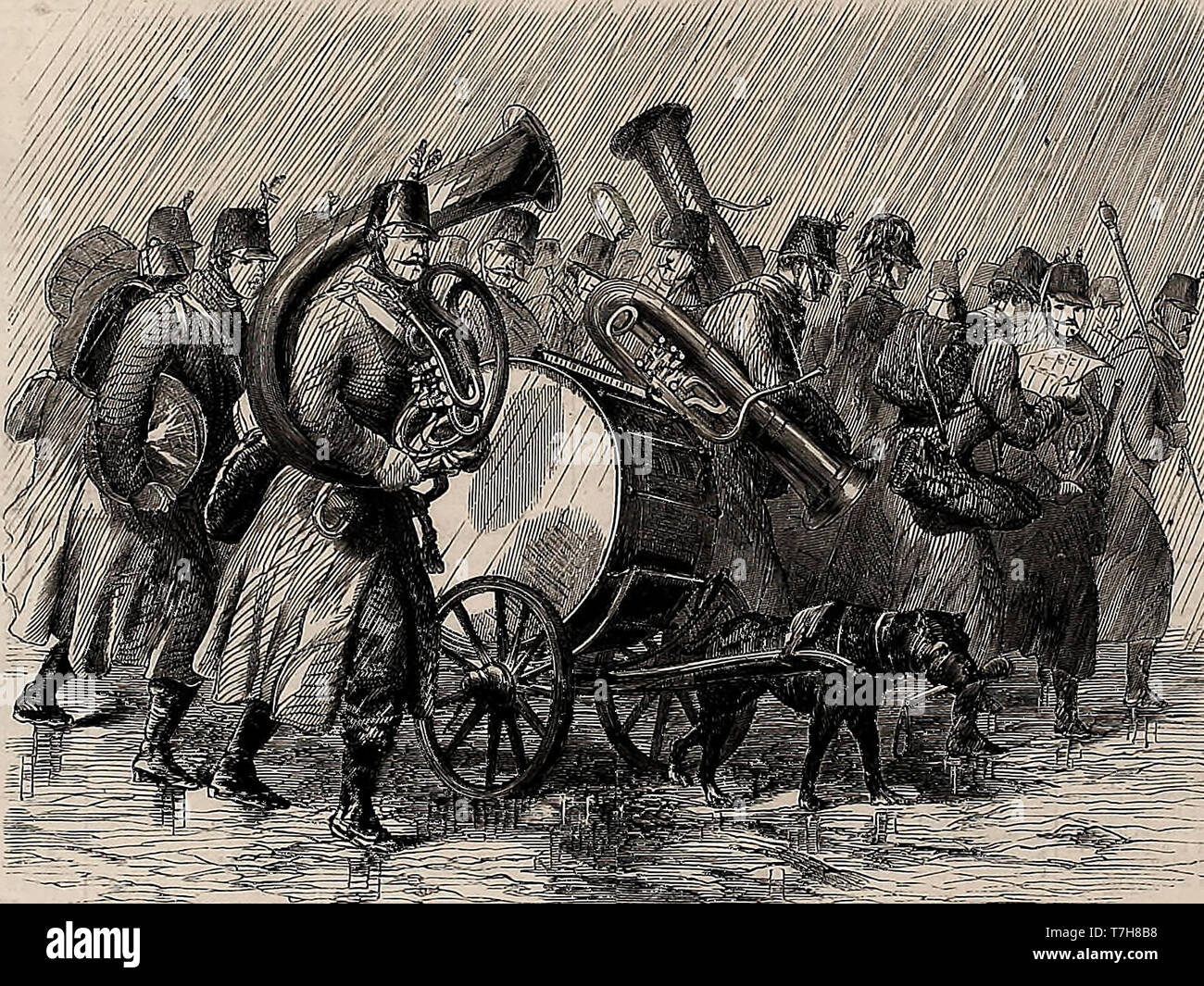 Austrian Military Band on the March in the 1860s - Stock Image