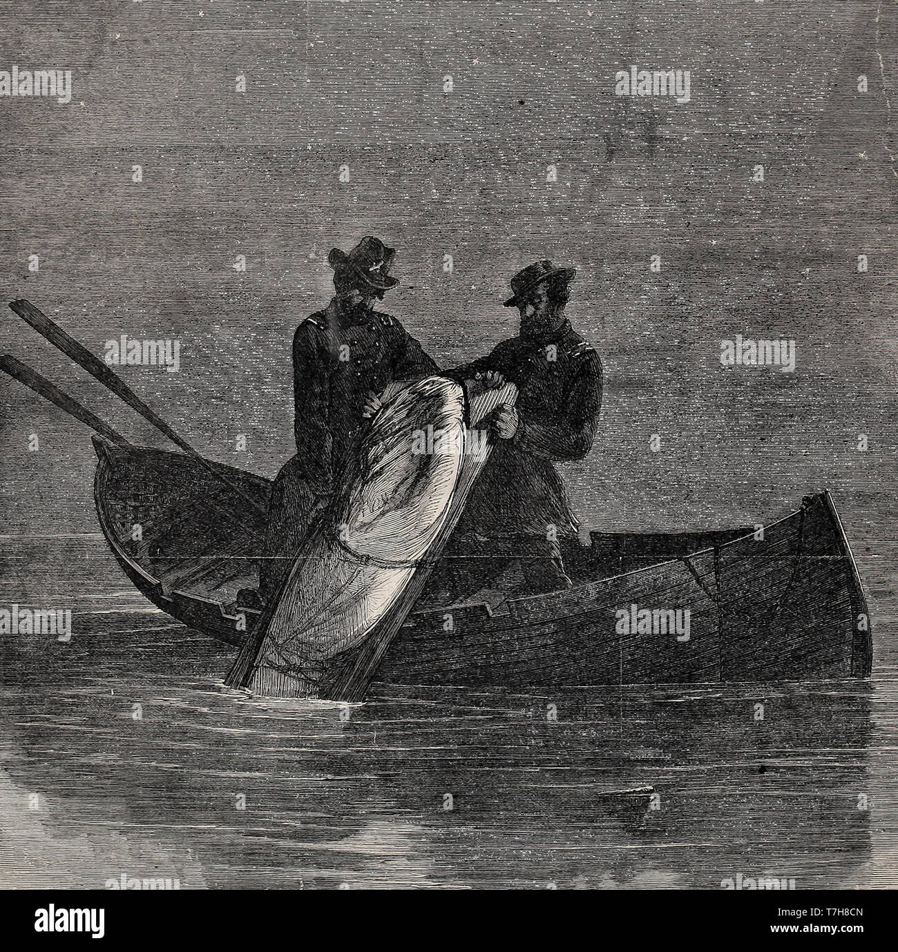 The final disposition of John Wilkes Booth body, dumped in the Potomac River - This was published in 1865, but it was not actually true - Stock Image