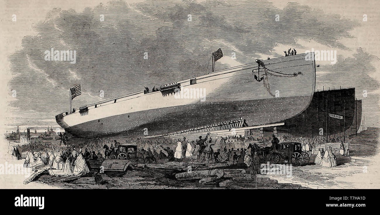 Launch of the fast US Screw Steamer Idaho from the yard of Henry Steers, Greenpoint, Long Island, October 8, 1864 - American Civil War - Stock Image