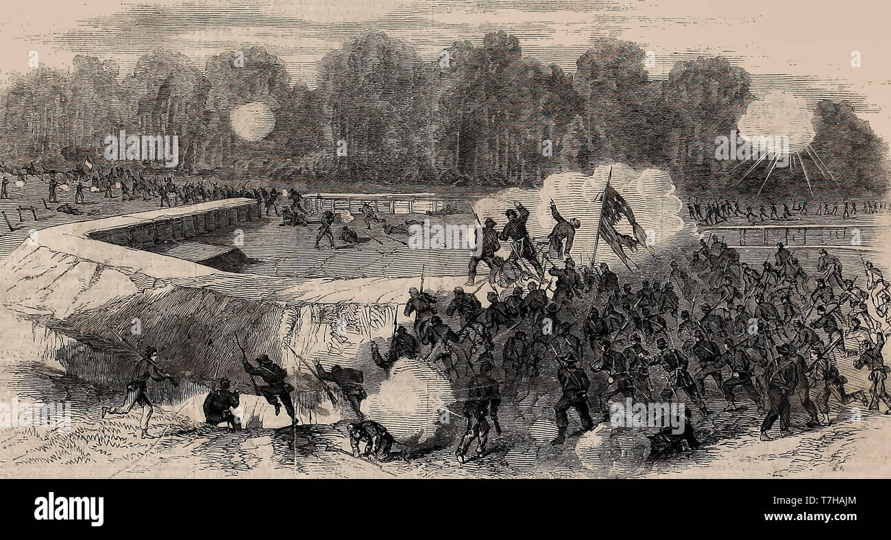 Grant's Movements South of the James - Battle of Poplar Spring Church - Gallant Charge of a part of the 5th Corps on the Rebel Fort, September 30, 1864 - American Civil War - Stock Image