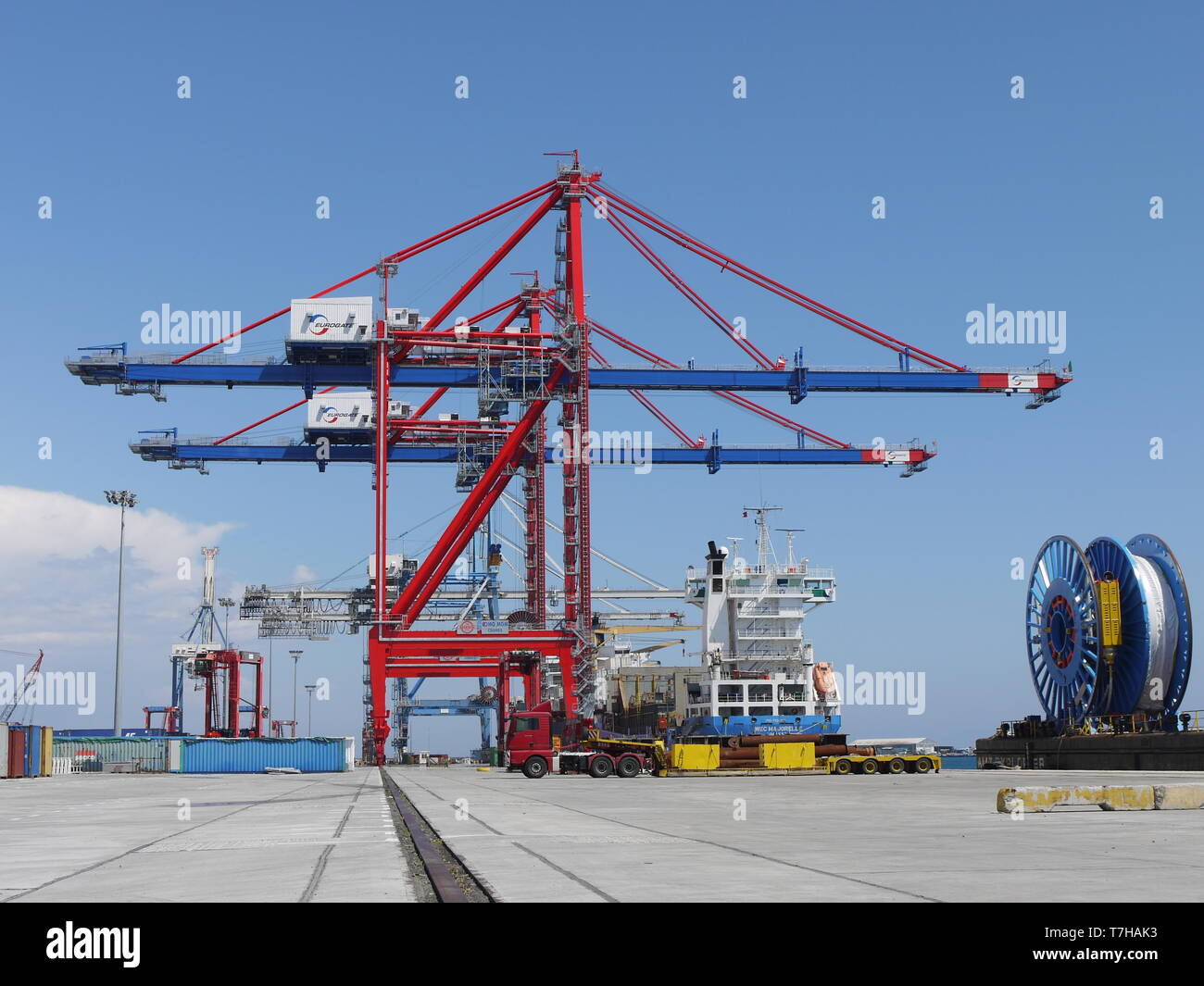 Limassol port of conteneurs is the main hub for transport of goods in Cyprus - Stock Image