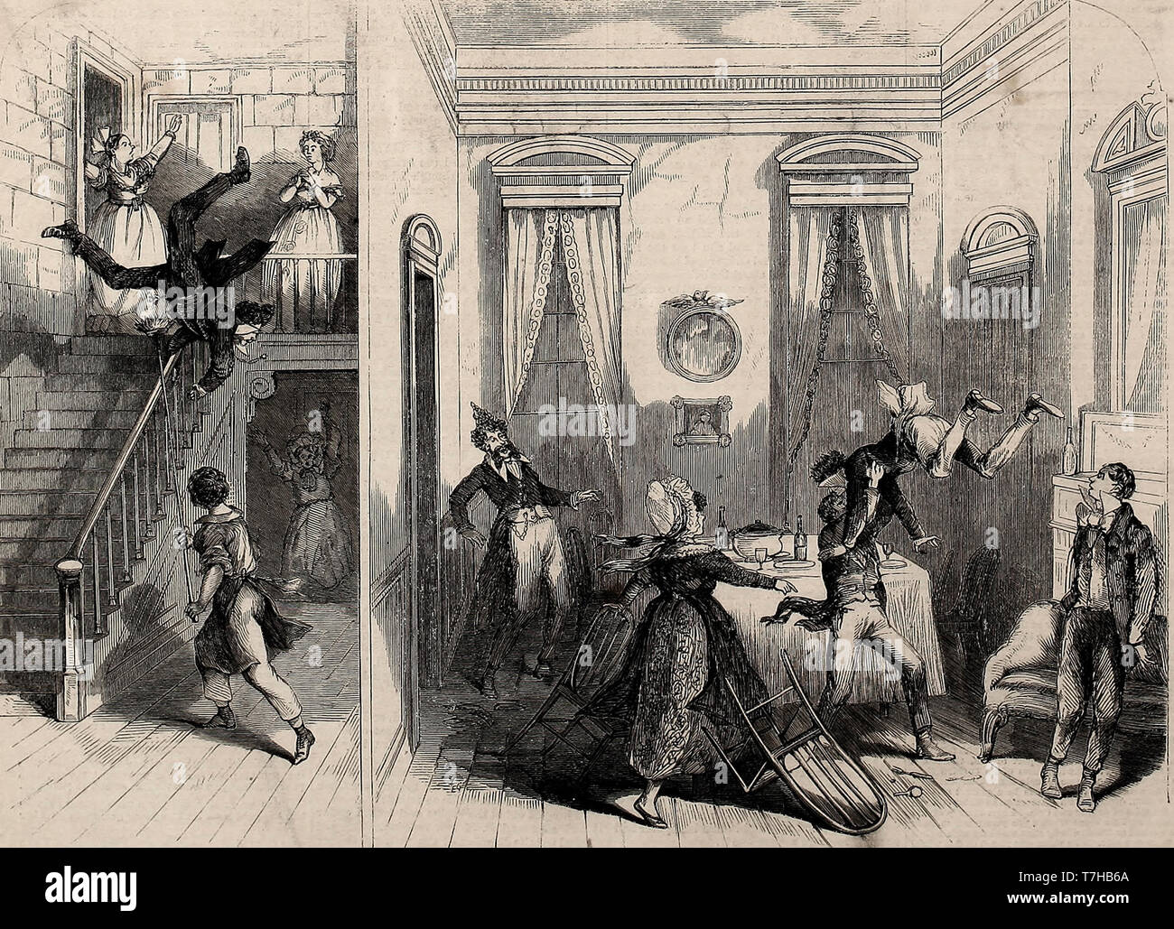 Scene in the New Comedy of Martin Chuzzlewit at the Olympic Theatre, New York - Finale of the Supper at Mrs. Todger's House - 1864 - Stock Image