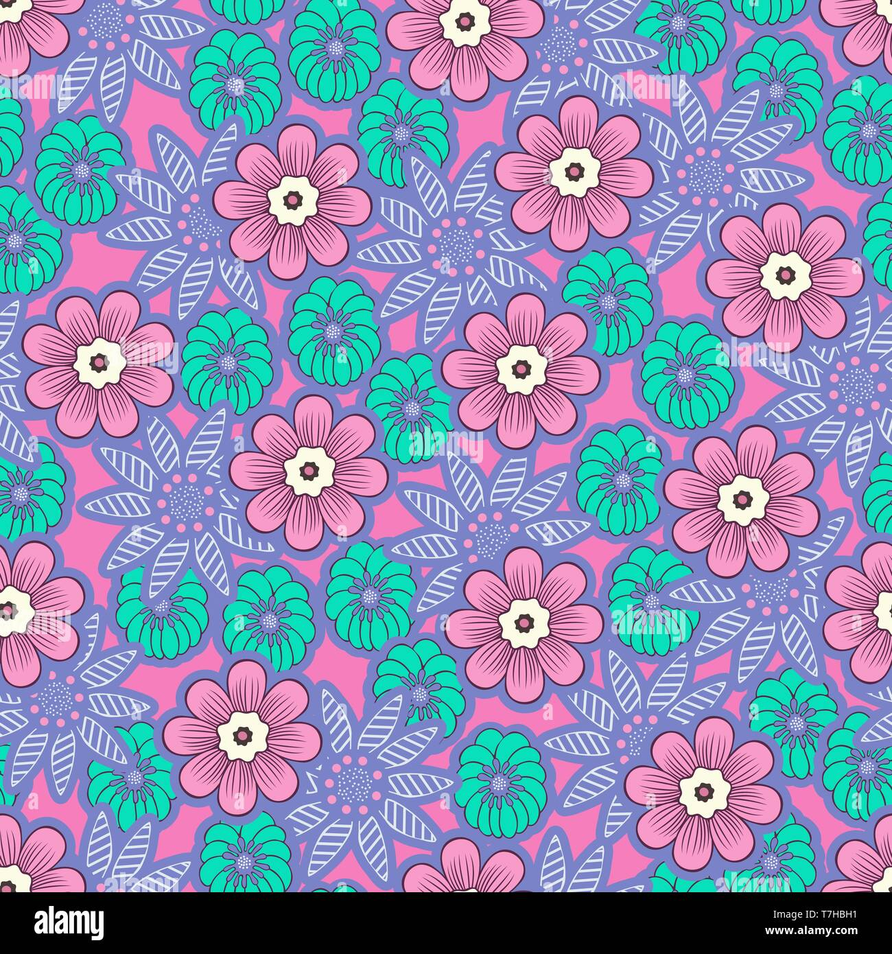 Doodle Flowers Seamless Pattern Colorful Floral Background