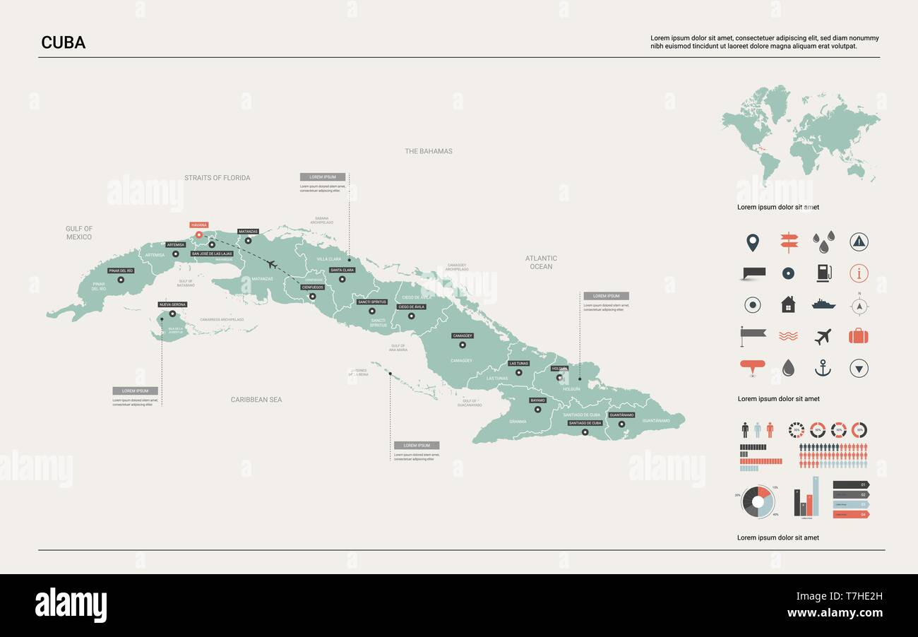 Vector map of Cuba. High detailed country map with division, cities on