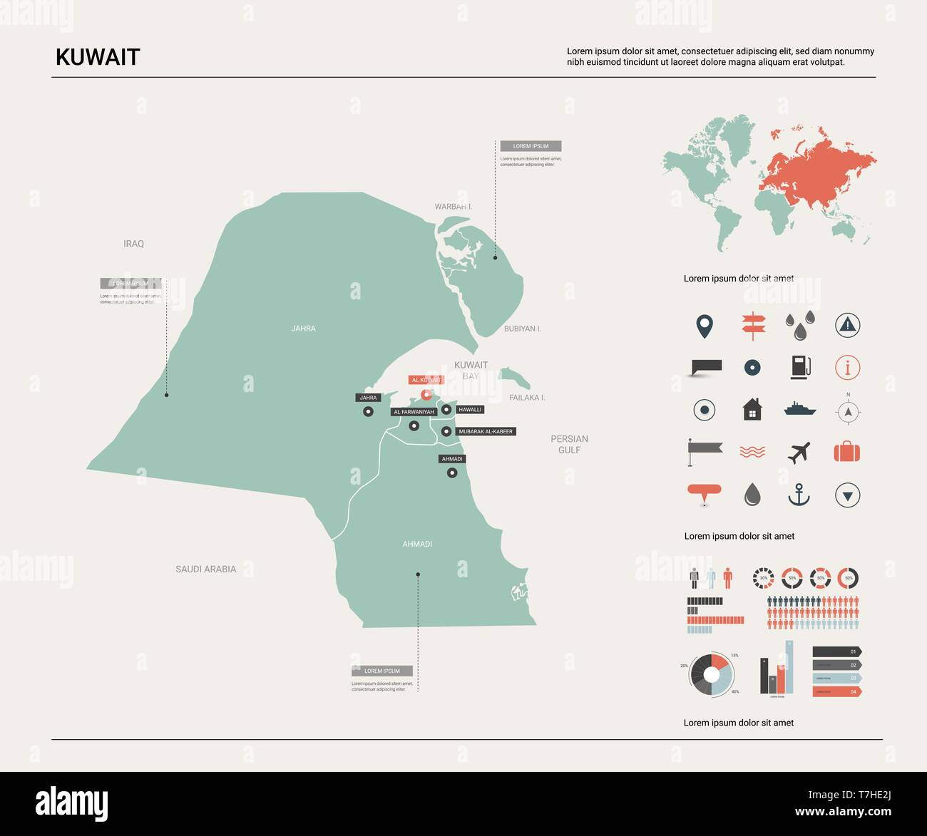 Vector map of Kuwait. High detailed country map with ...