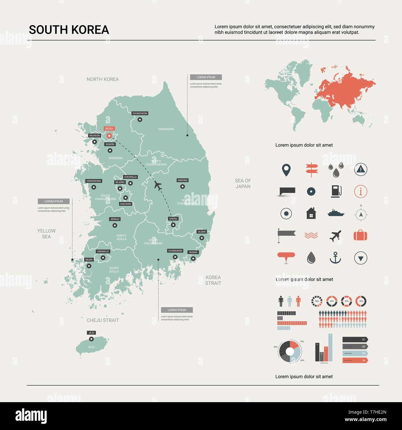 Picture of: Vector Map Of South Korea High Detailed Country Map With Division Cities And Capital Seoul Political Map World Map Infographic Elements Stock Vector Image Art Alamy