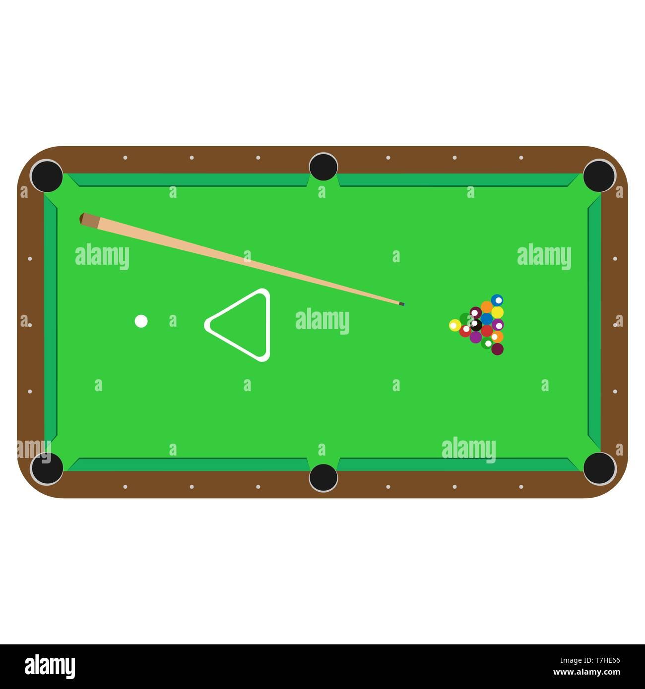 Table pool billiard vector. Sport cue , ball snooker illustration isolated - Stock Vector