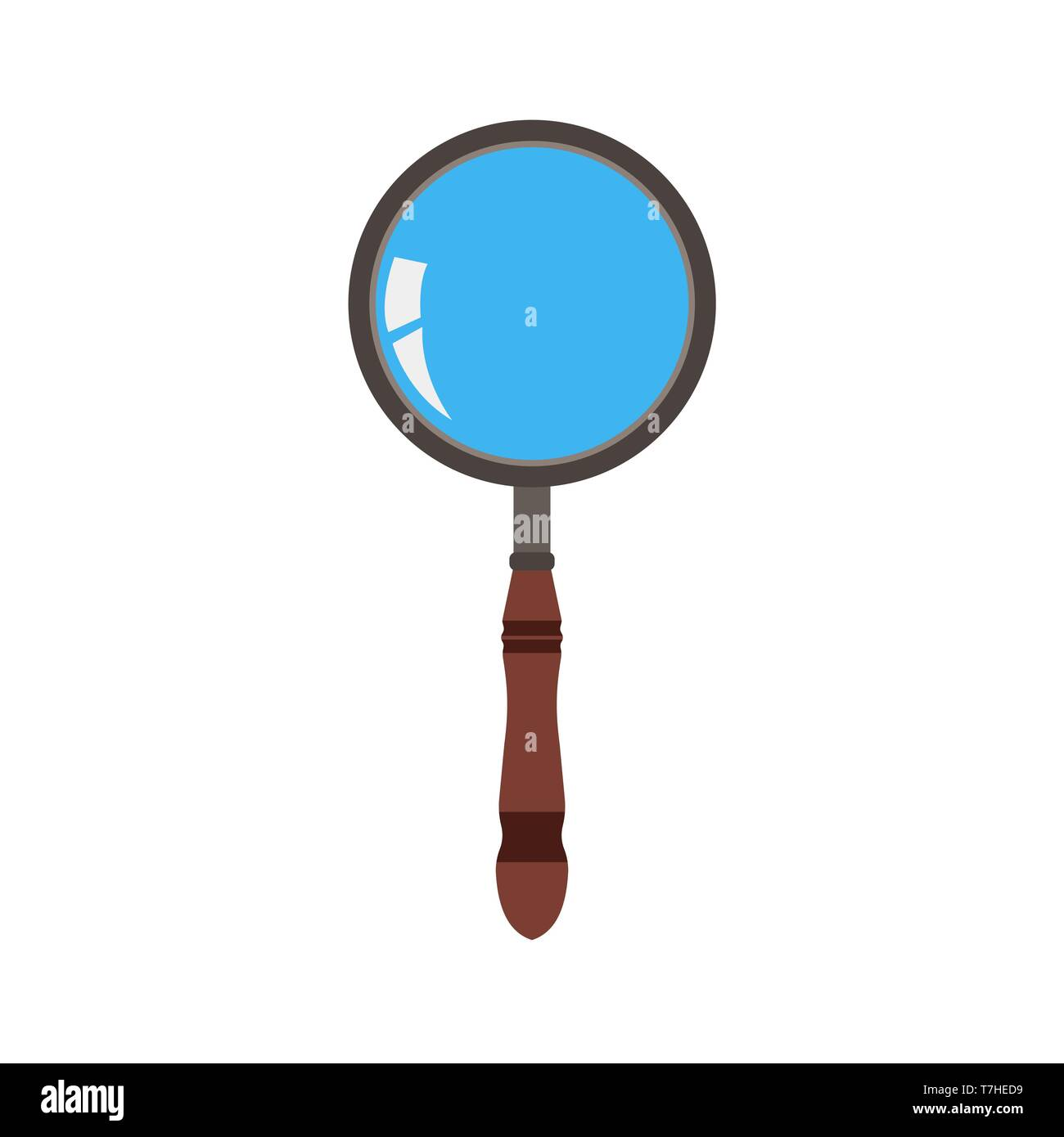 Glass magnifying icon vector search zoom illustration. Magnifier symbol magnify look research lens find loupe sign optical - Stock Image