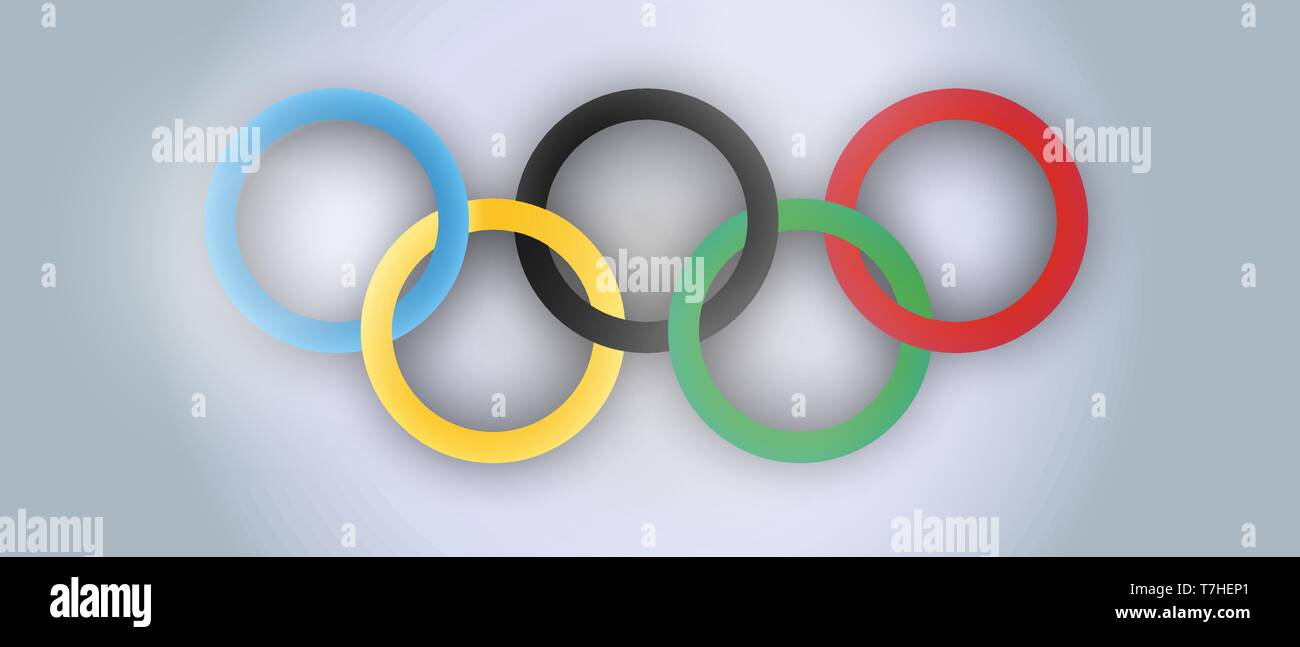 International Olympic Day vector realistic illustration. Holiday sports rings poster design. - Stock Vector