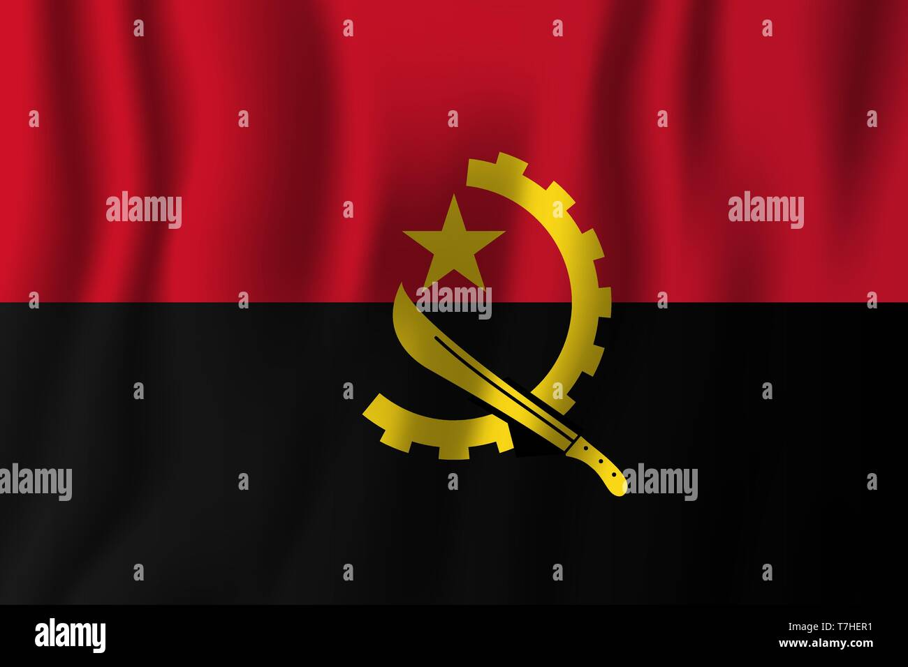 Angola realistic waving flag vector illustration. National country background symbol. Independence day. - Stock Vector