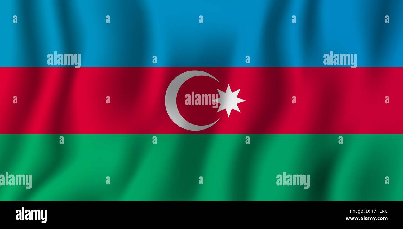 Azerbaijan realistic waving flag vector illustration. National country background symbol. Independence day. - Stock Vector