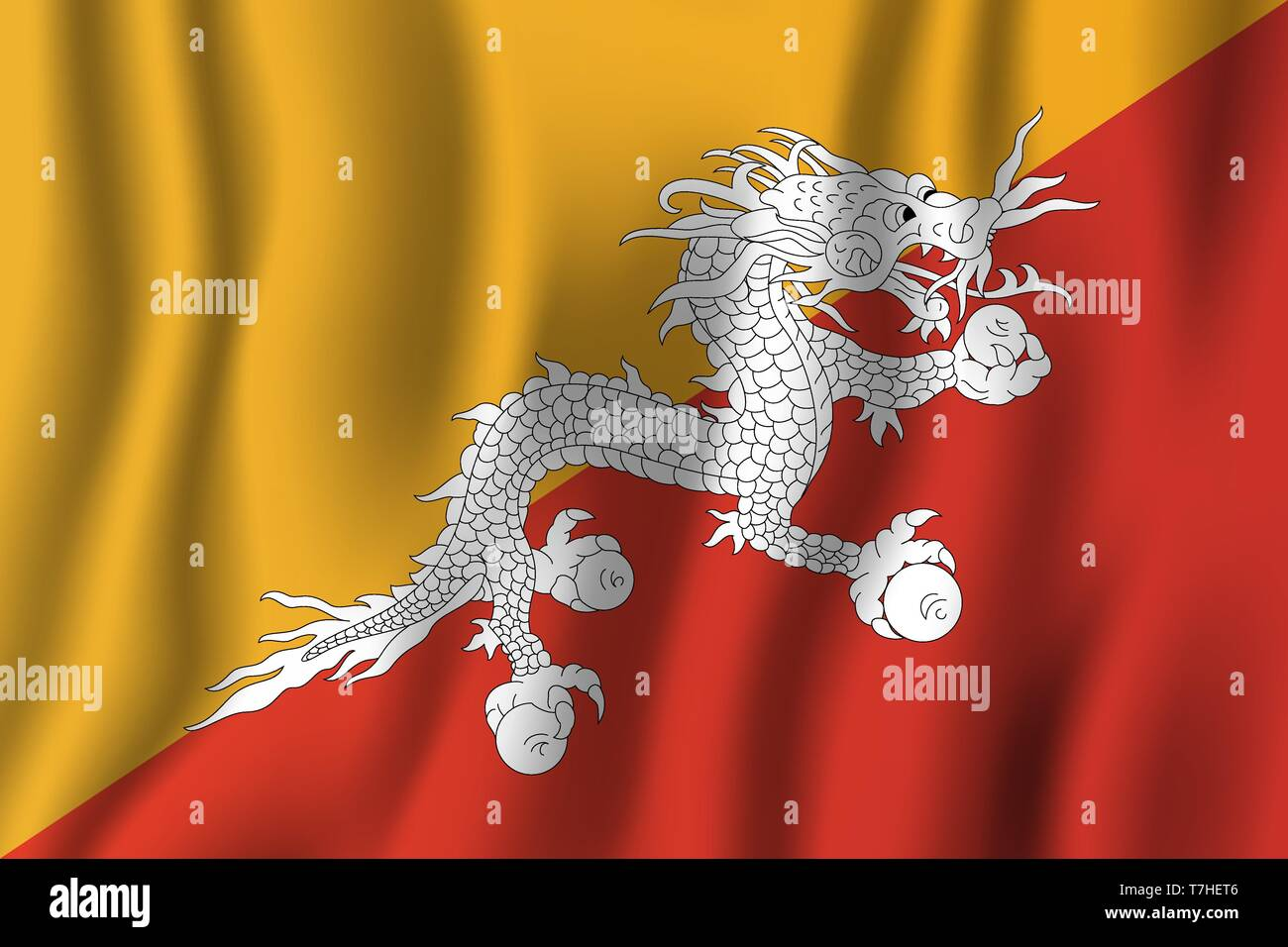 Bhutan realistic waving flag vector illustration. National country background symbol. Independence day. - Stock Vector