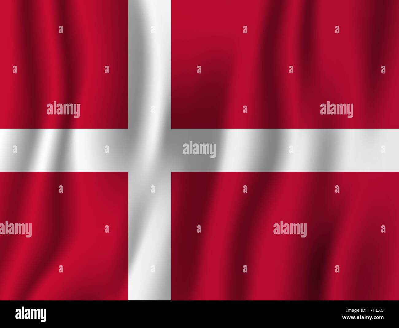 Denmark realistic waving flag vector illustration. National country background symbol. Independence day. - Stock Image