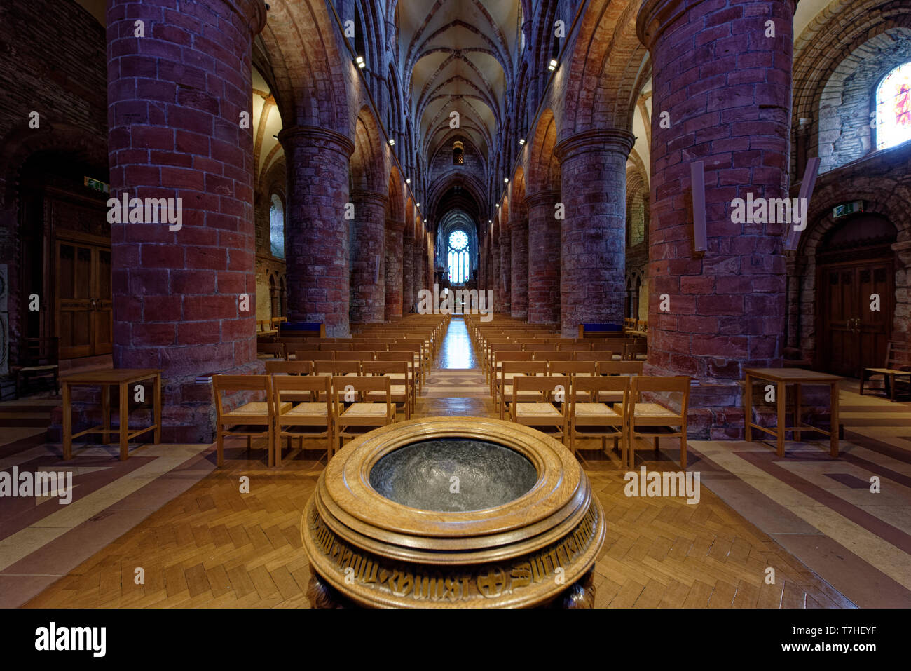 The beautiful interior of St Magnus Cathedral, Britains most northerly Cathedral in the lovely city of Kirkwall in Orkney - Stock Image