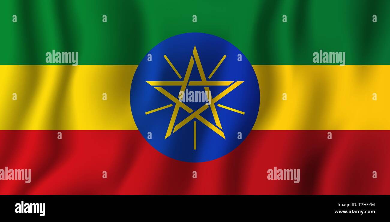 Ethiopia waving flag vector illustration. National country background symbol. Independence day. - Stock Vector