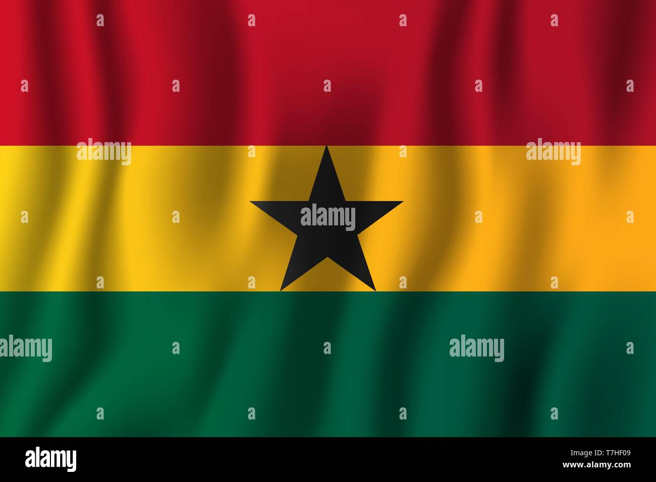Ghana realistic waving flag vector illustration. National country background symbol. Independence day. - Stock Vector