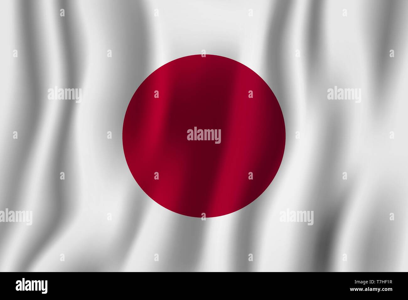 Japan realistic waving flag vector illustration. National country background symbol. Independence day. Stock Vector