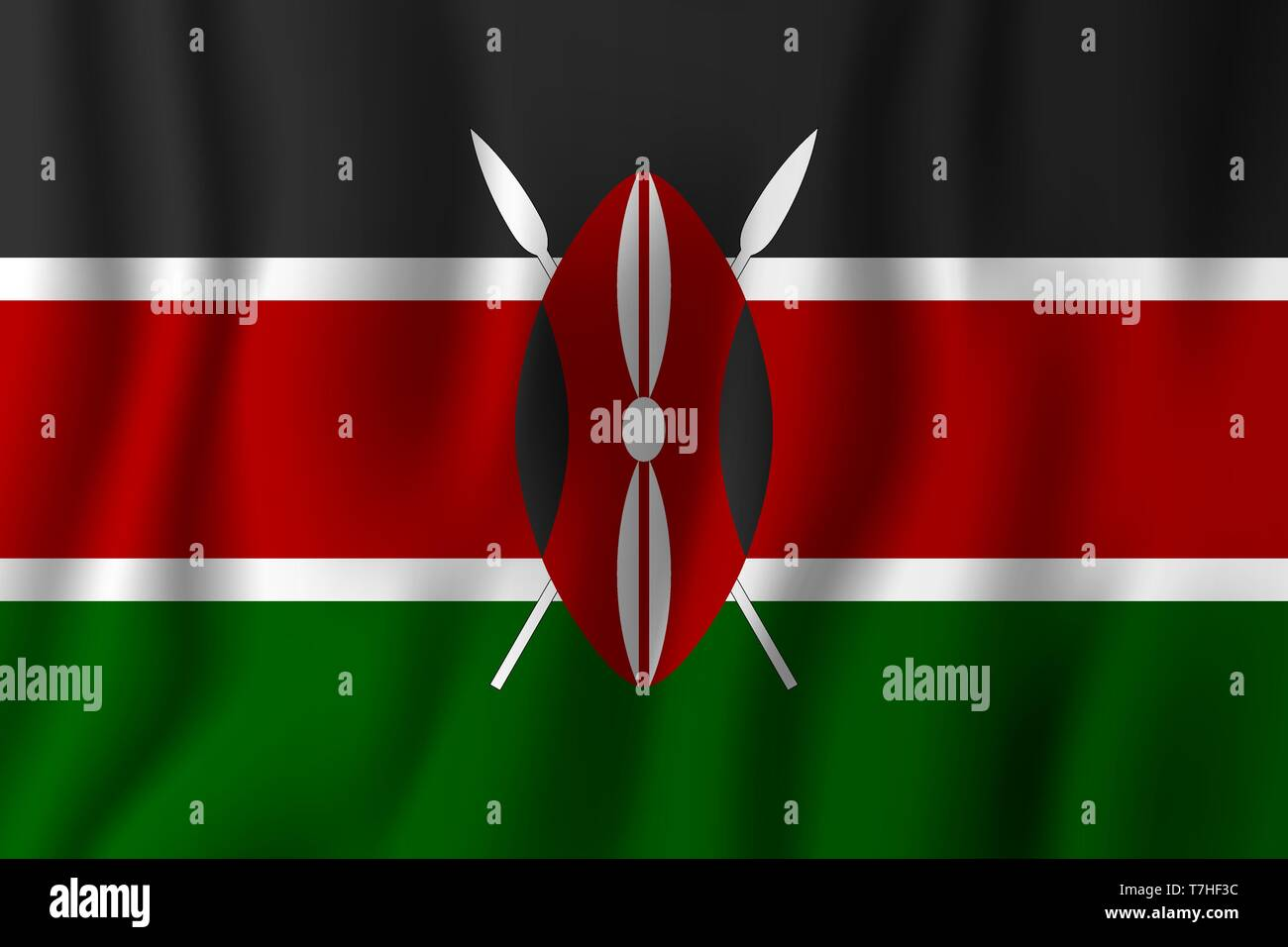 Kenya realistic waving flag vector illustration. National country background symbol. Independence day. Stock Vector