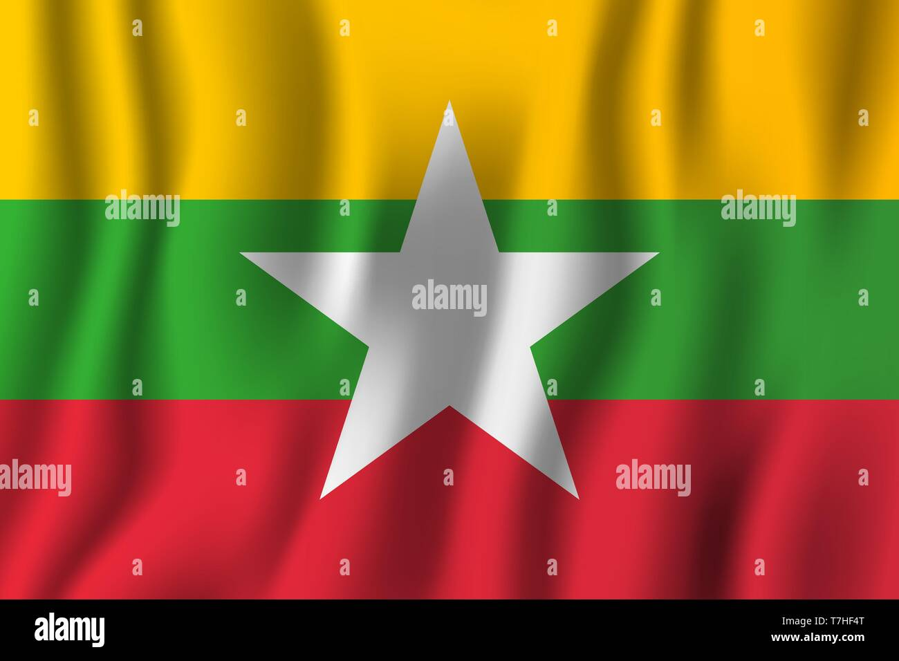 Myanmar realistic waving flag vector illustration. National country background symbol. Independence day. - Stock Vector