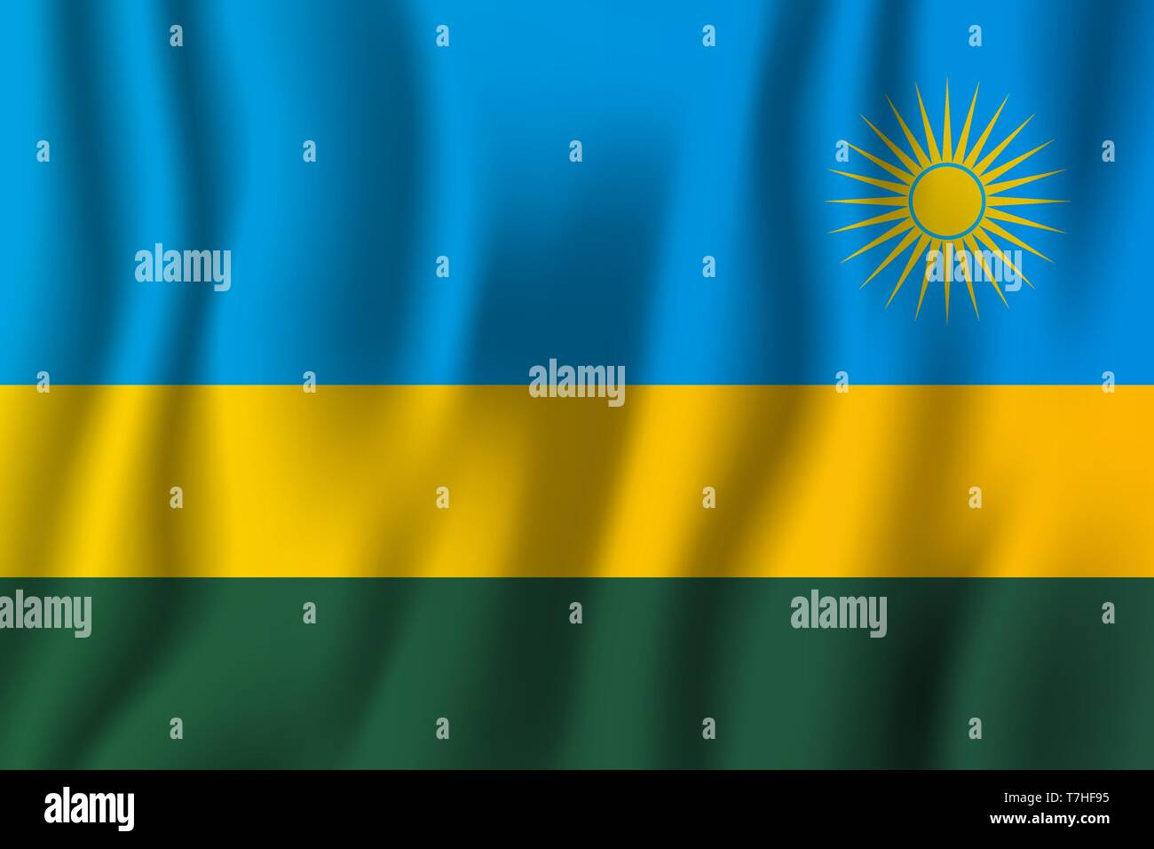 Rwanda realistic waving flag vector illustration. National country background symbol. Independence day. - Stock Vector