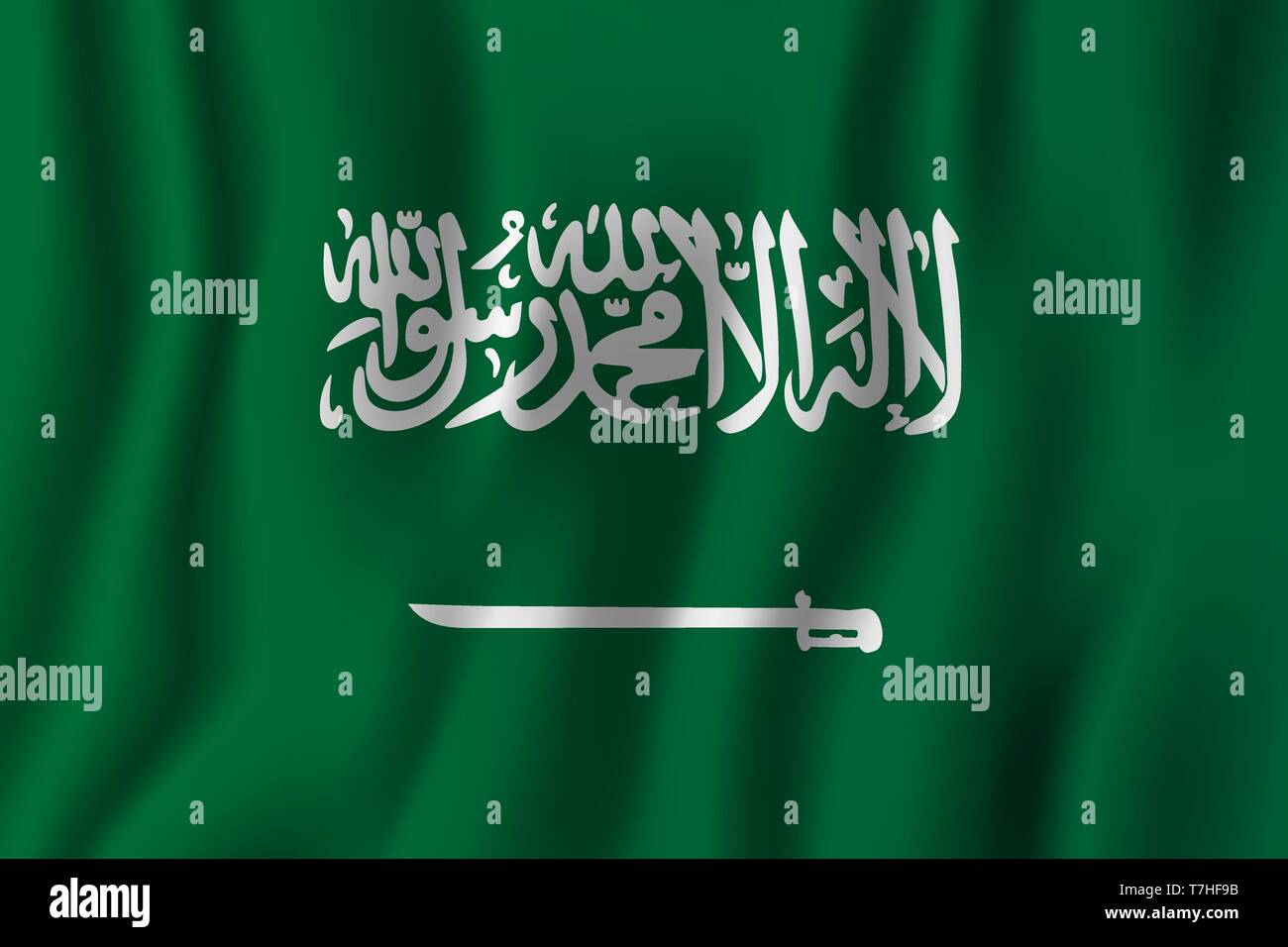 Saudi Arabia realistic waving flag vector illustration. National country background symbol. Independence day. - Stock Vector