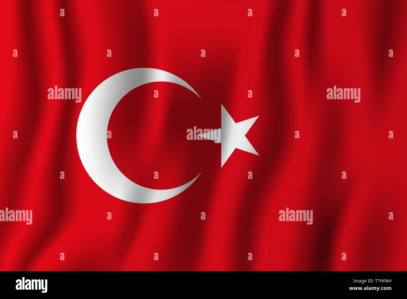 Turkey realistic waving flag vector illustration. National country background symbol. Independence day. - Stock Vector