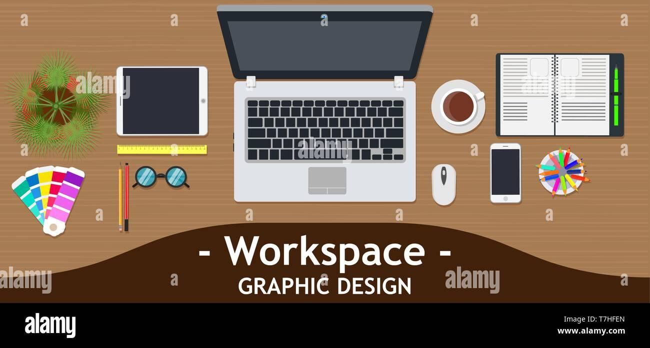 Graphic Designer Workspace Office Creative Desk Work Vector Business Design Art Table Studio Concept Top View Flat Color Background Technology Ins Stock Vector Image Art Alamy