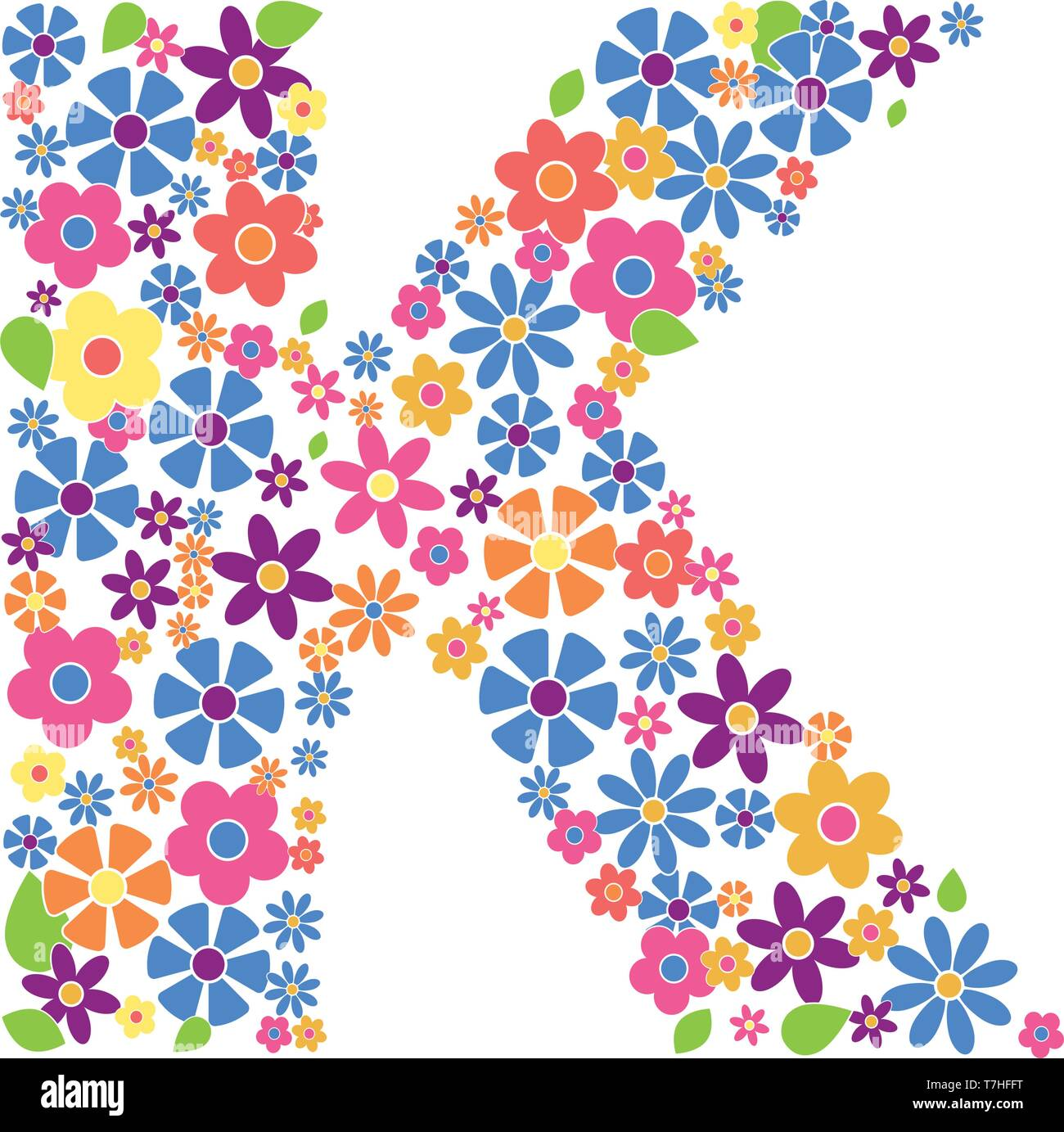 Letter K filled with a variety of colorful flowers isolated on white background vector illustration - Stock Image
