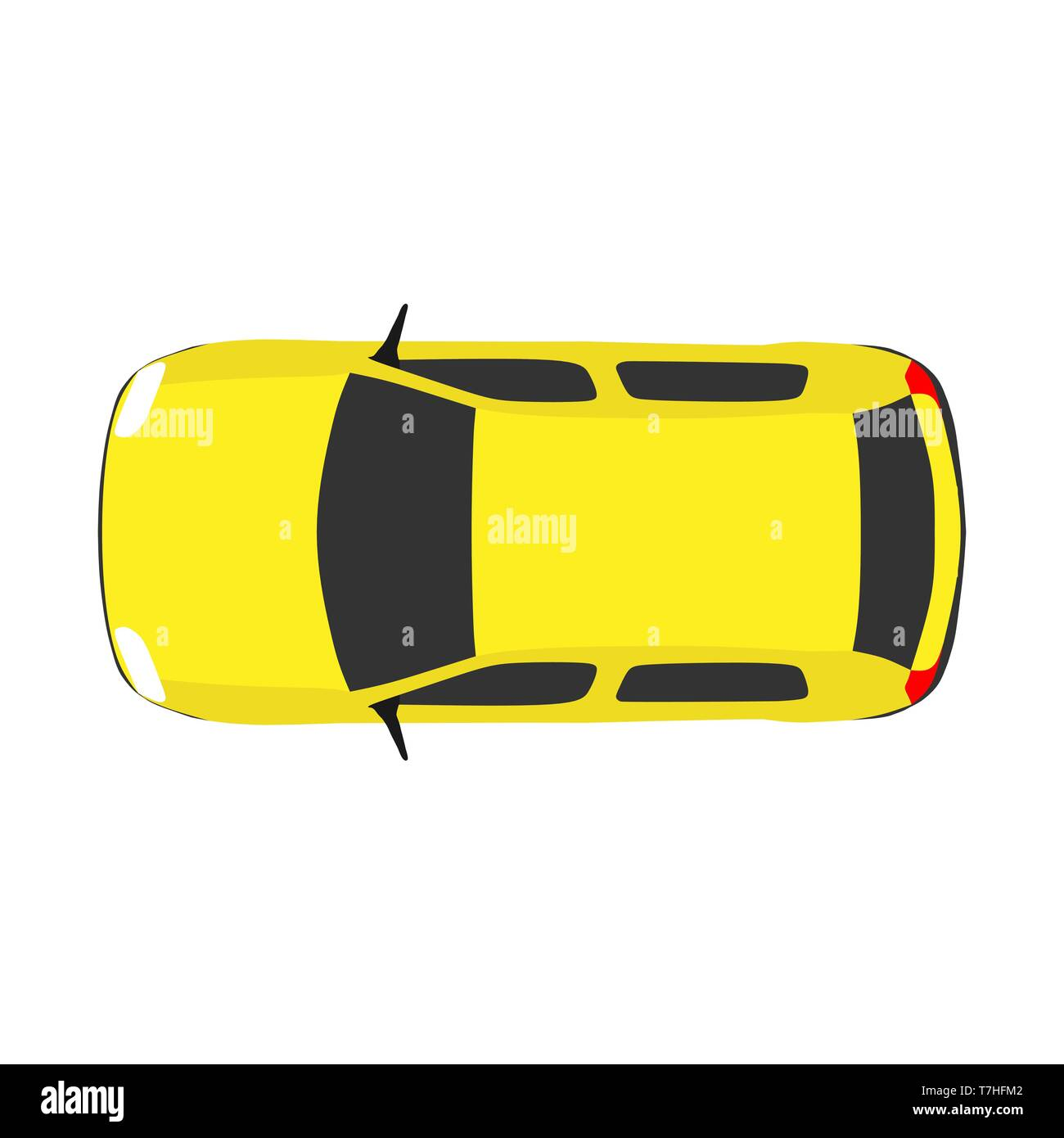 Car Top View Vector Travel Above White Background Road Drive