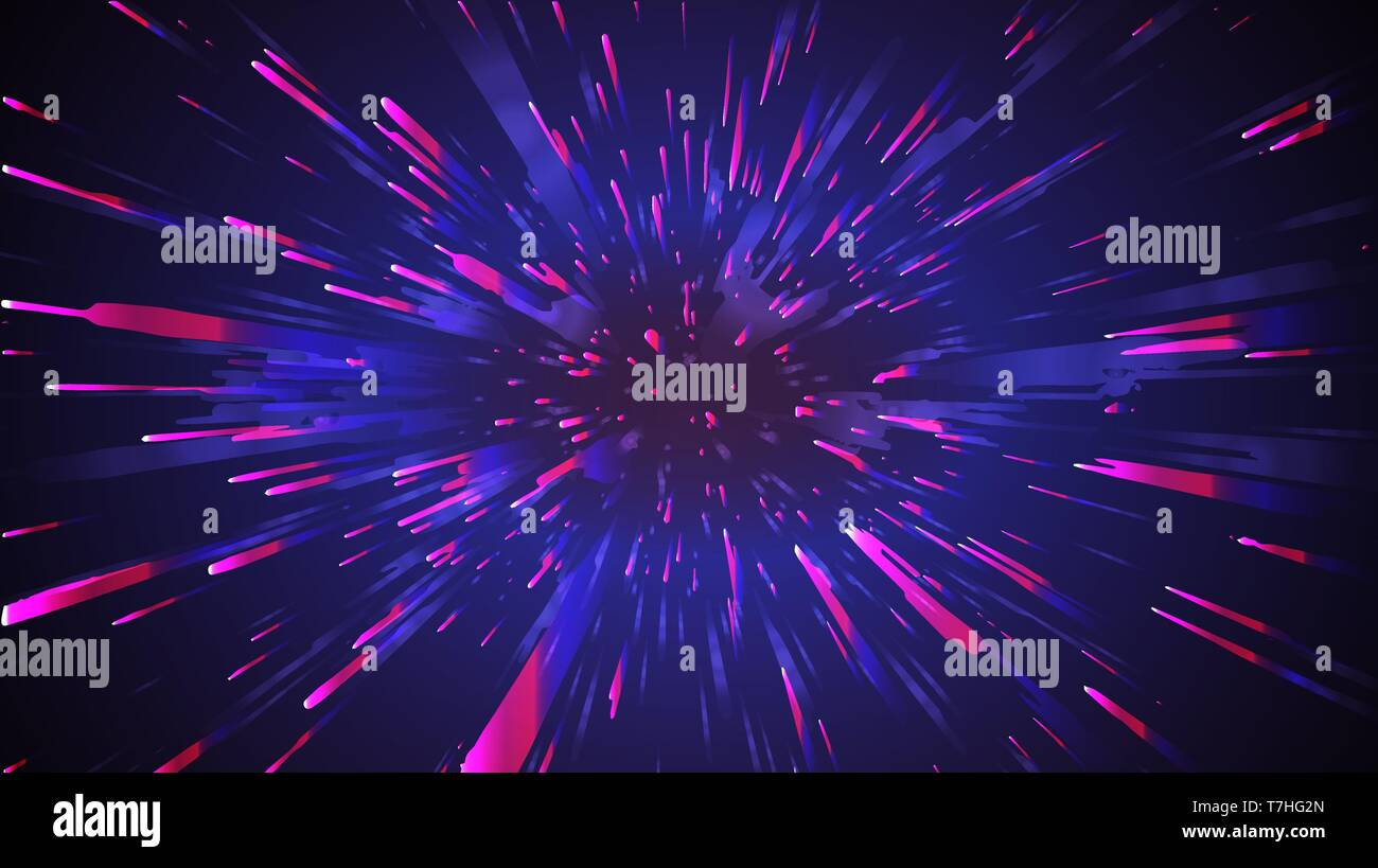 Space speed abstract background. Motion light starburst zoom vector. - Stock Image
