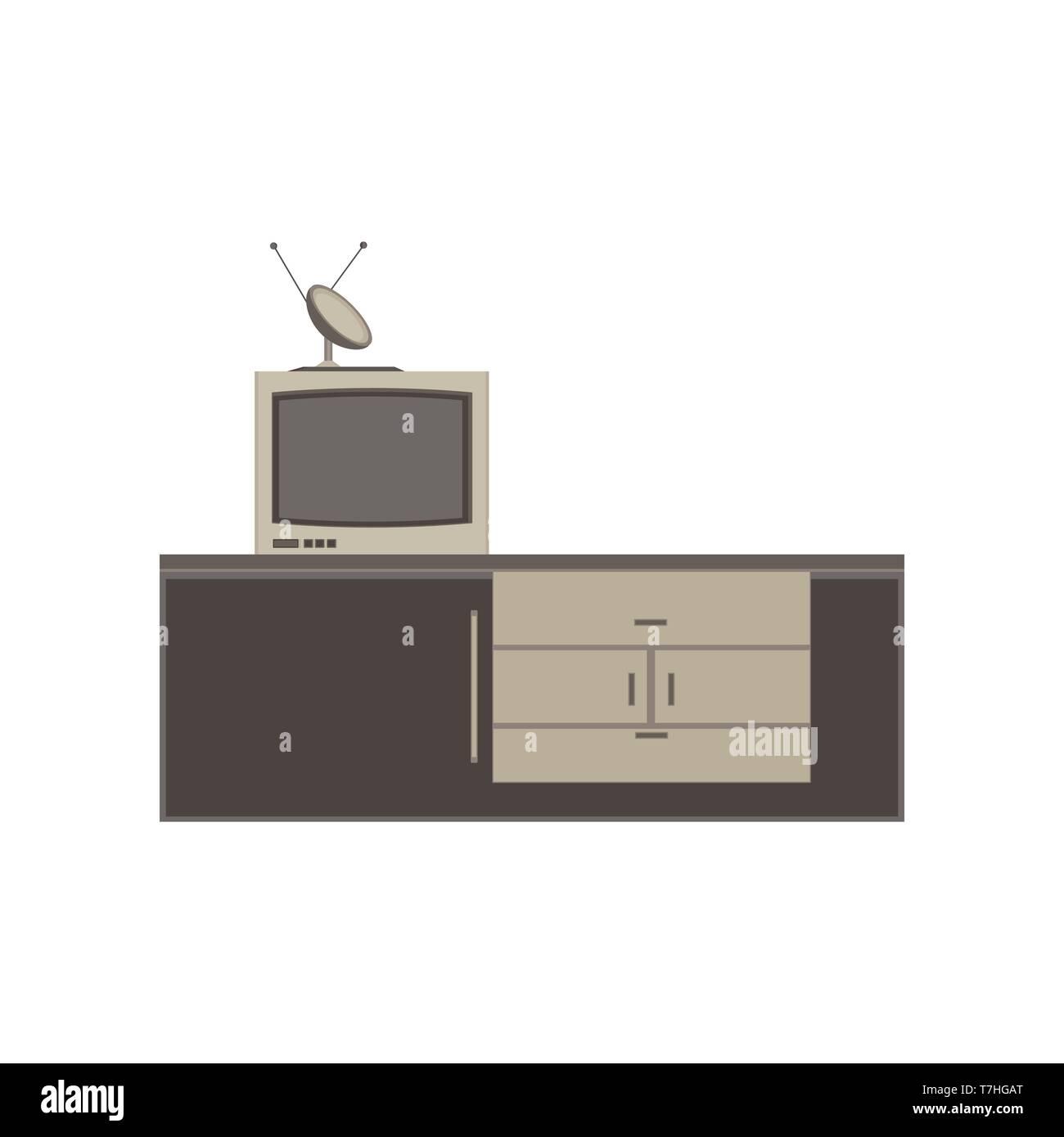 Tv unit television icon vector furniture screen design flat isolated home interior illustration - Stock Vector