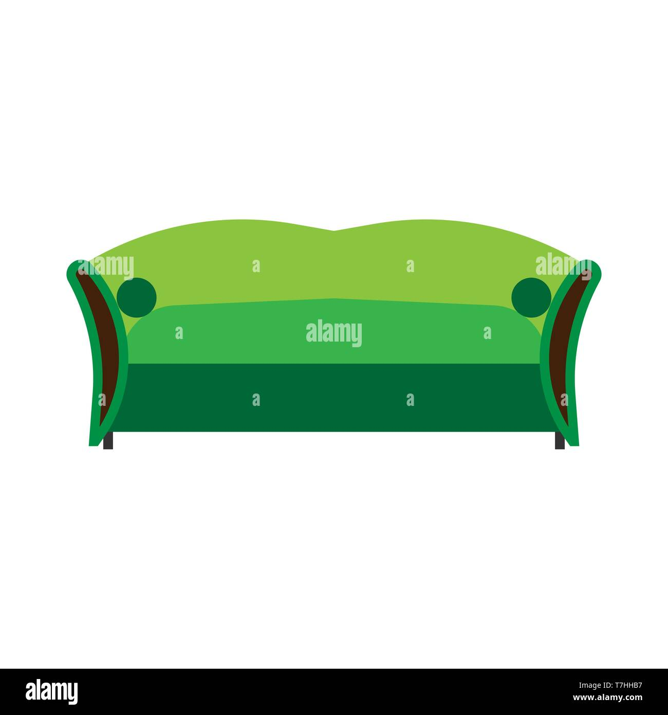 Enjoyable Sofa Green Front View Vector Flat Icon Comfortable Room Short Links Chair Design For Home Short Linksinfo