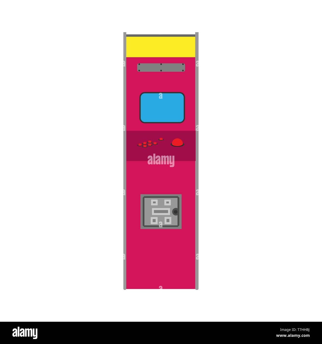 Arcade machine gaming entertainment retro vector icon. Gamble vintage pixel bit play controller - Stock Vector