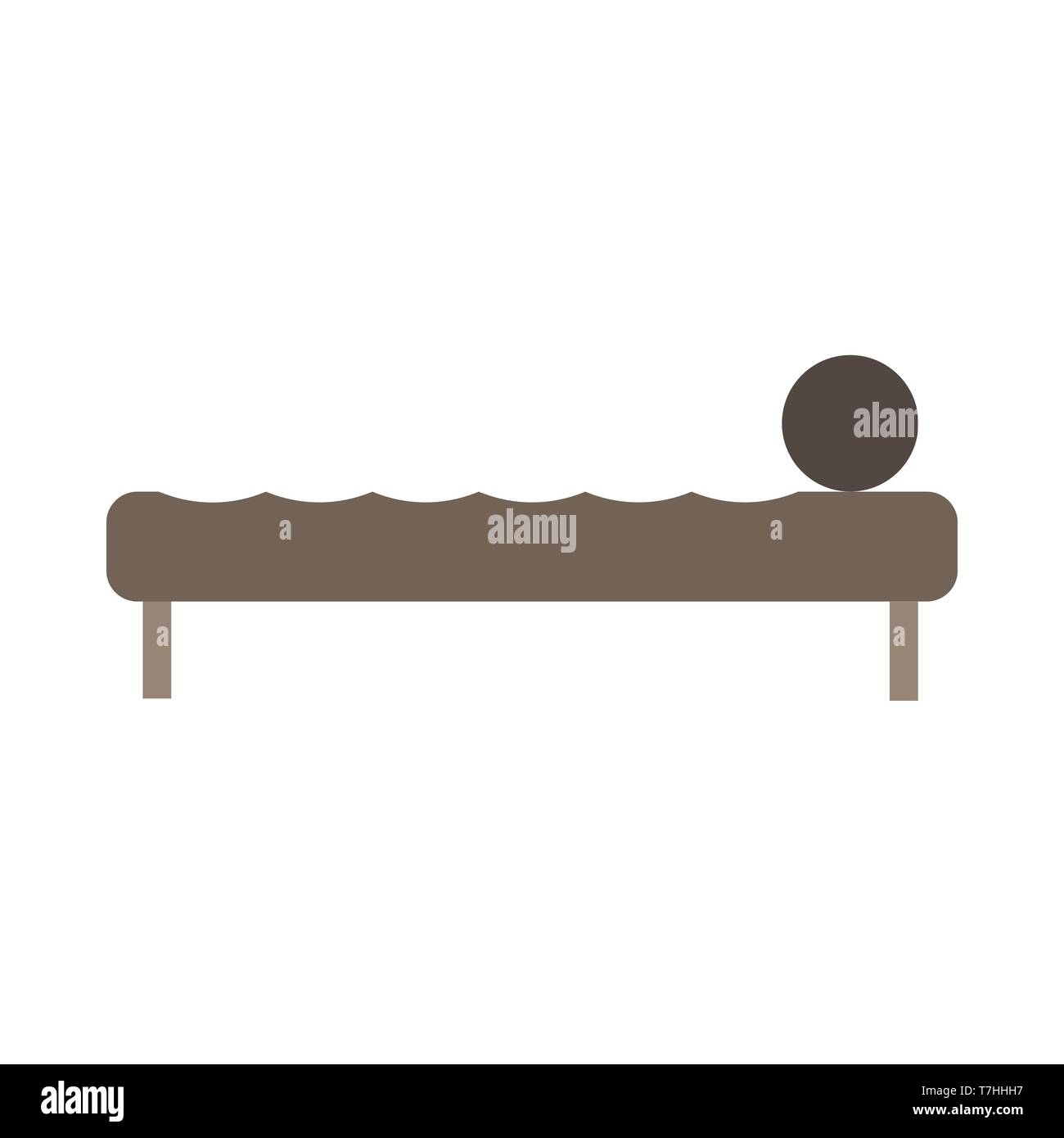 Bed side view vector icon comfortable apartment. Bedding room luxury pictogram mattress interior - Stock Vector