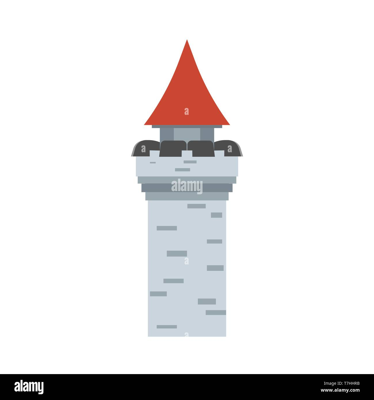 Tower castle ancient historical design symbol vector icon. Stone monument flat stronghold cartoon medieval fort - Stock Vector