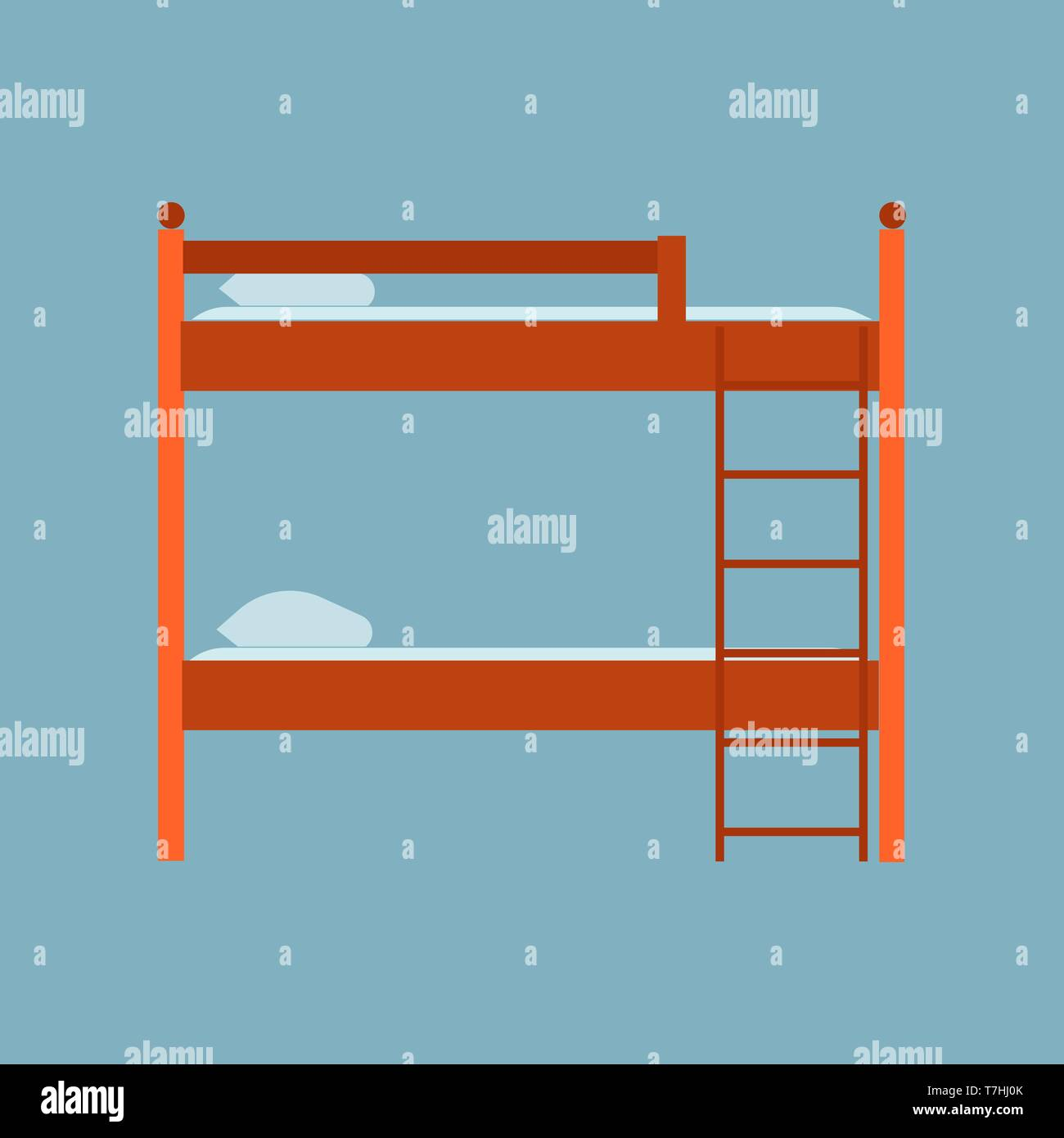 Bed side view vector icon comfortable apartment. Bedding room luxury pictogram mattress interior. Flat wooden furniture - Stock Vector