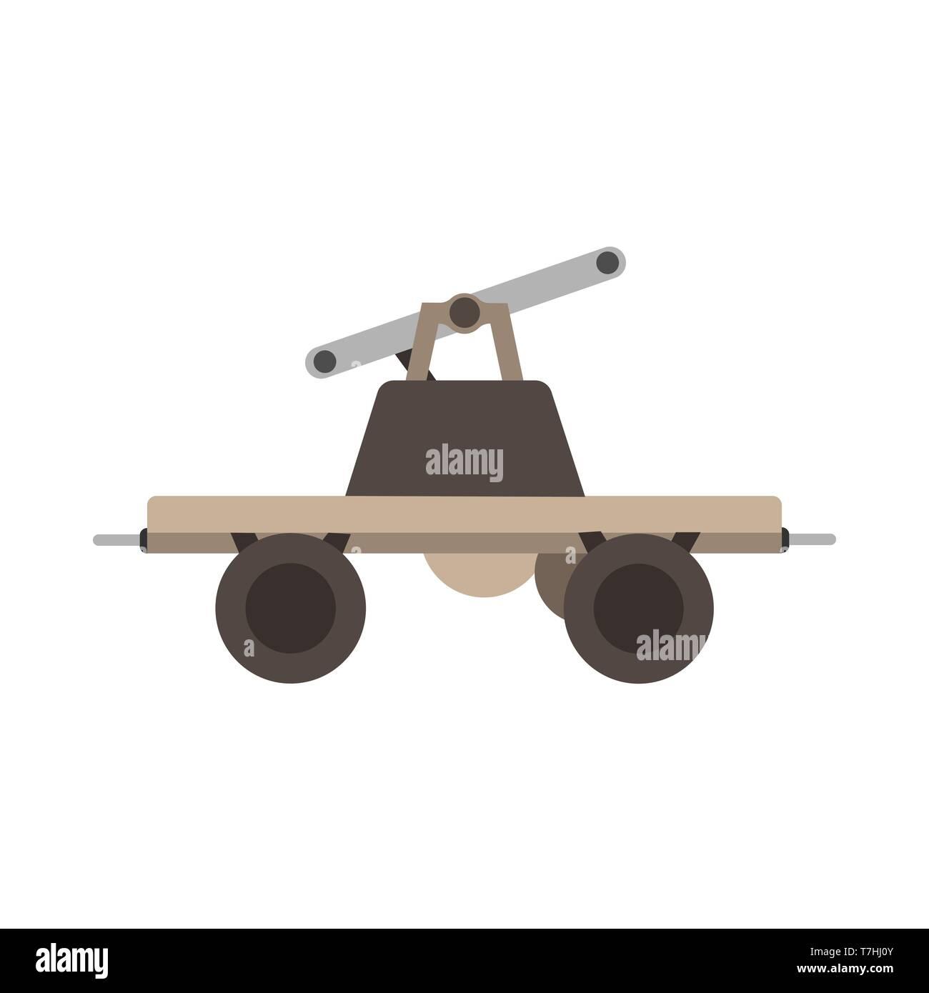 Draisine handcar railway bicycle transport. History railroad flat vehicle design maintenance technology wheel vector Stock Vector
