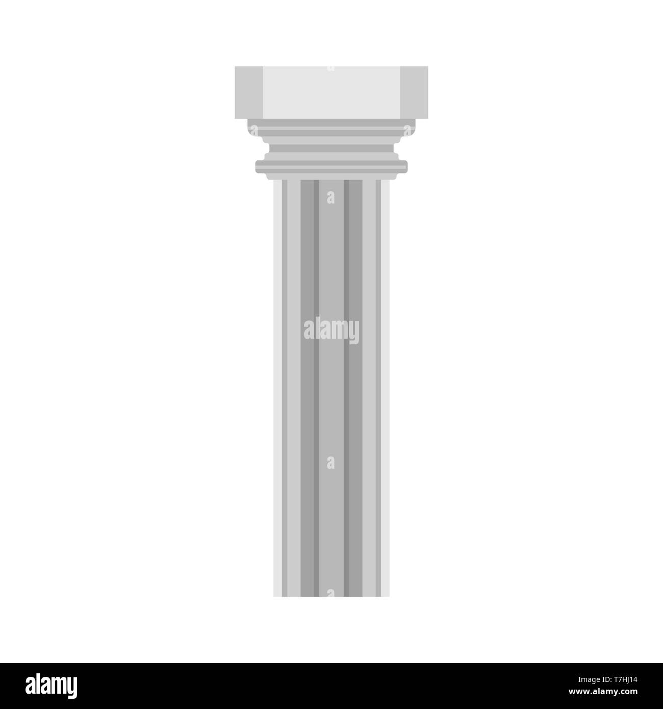 Column history classical symbol monument architectural element vector icon. Flat pillar exterior marble sculpture bar - Stock Image