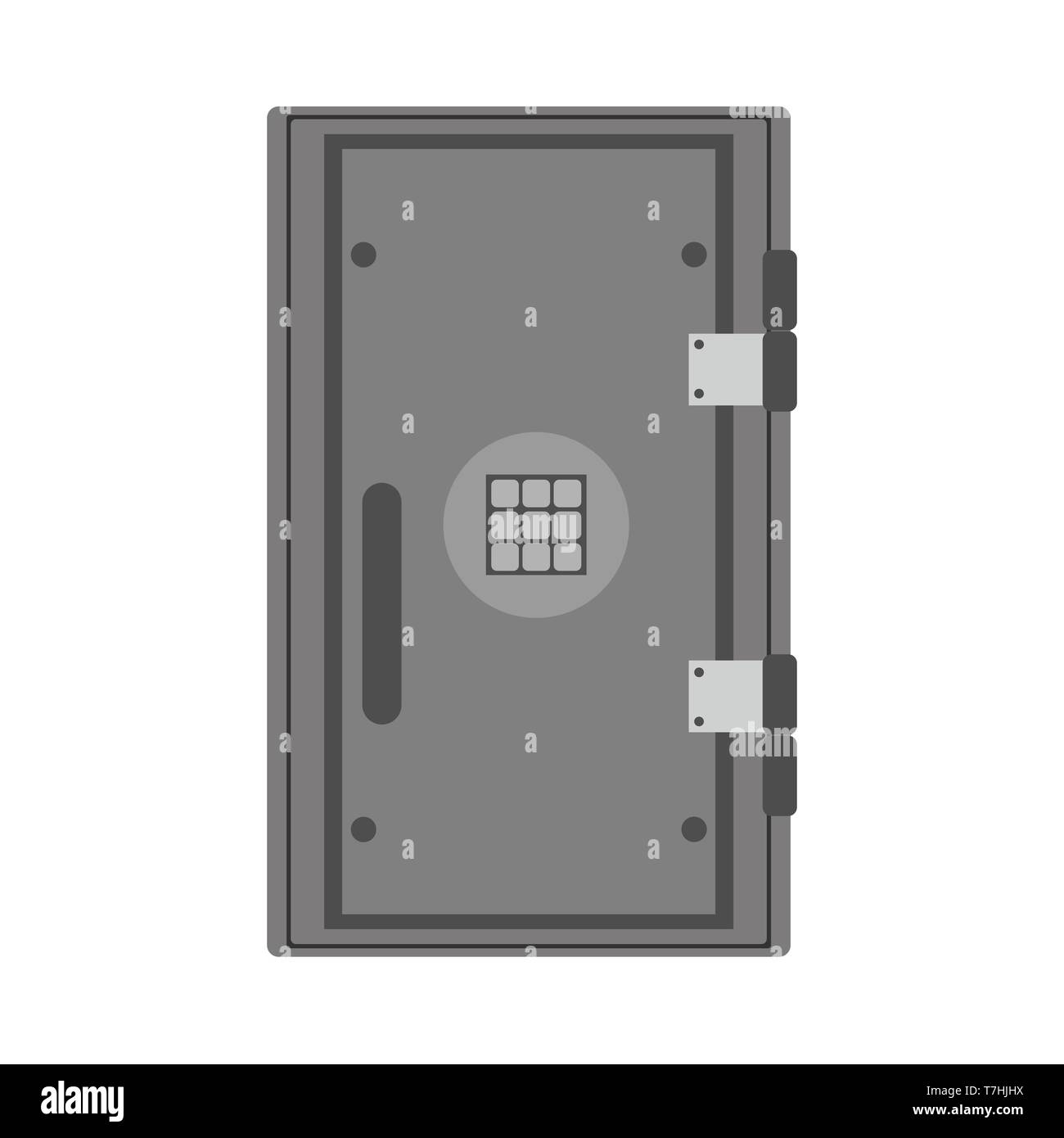 Safe banking object investment vector icon lock box. Security treasure money vault. Trust deposit flat symbol - Stock Image