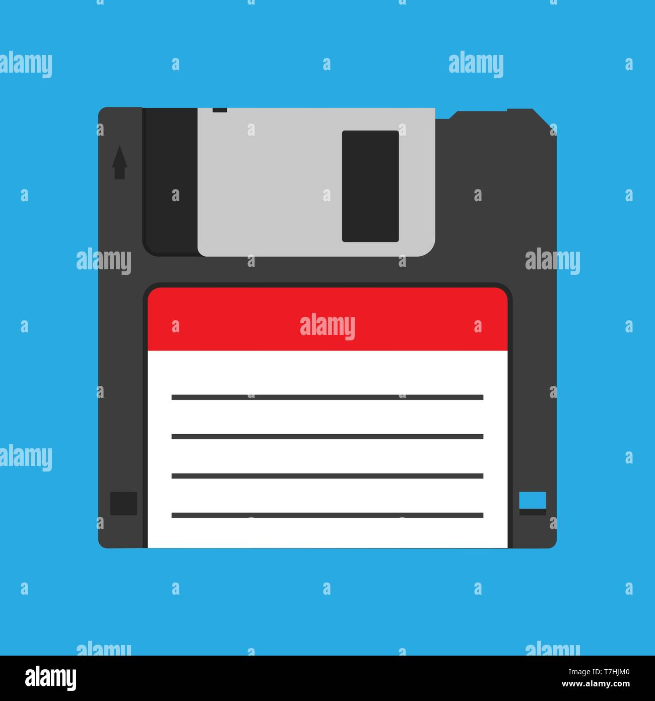 Floppy disk diskette vintage black backup device obsolete vector icon. Computer memory drive magnetic square datum - Stock Image