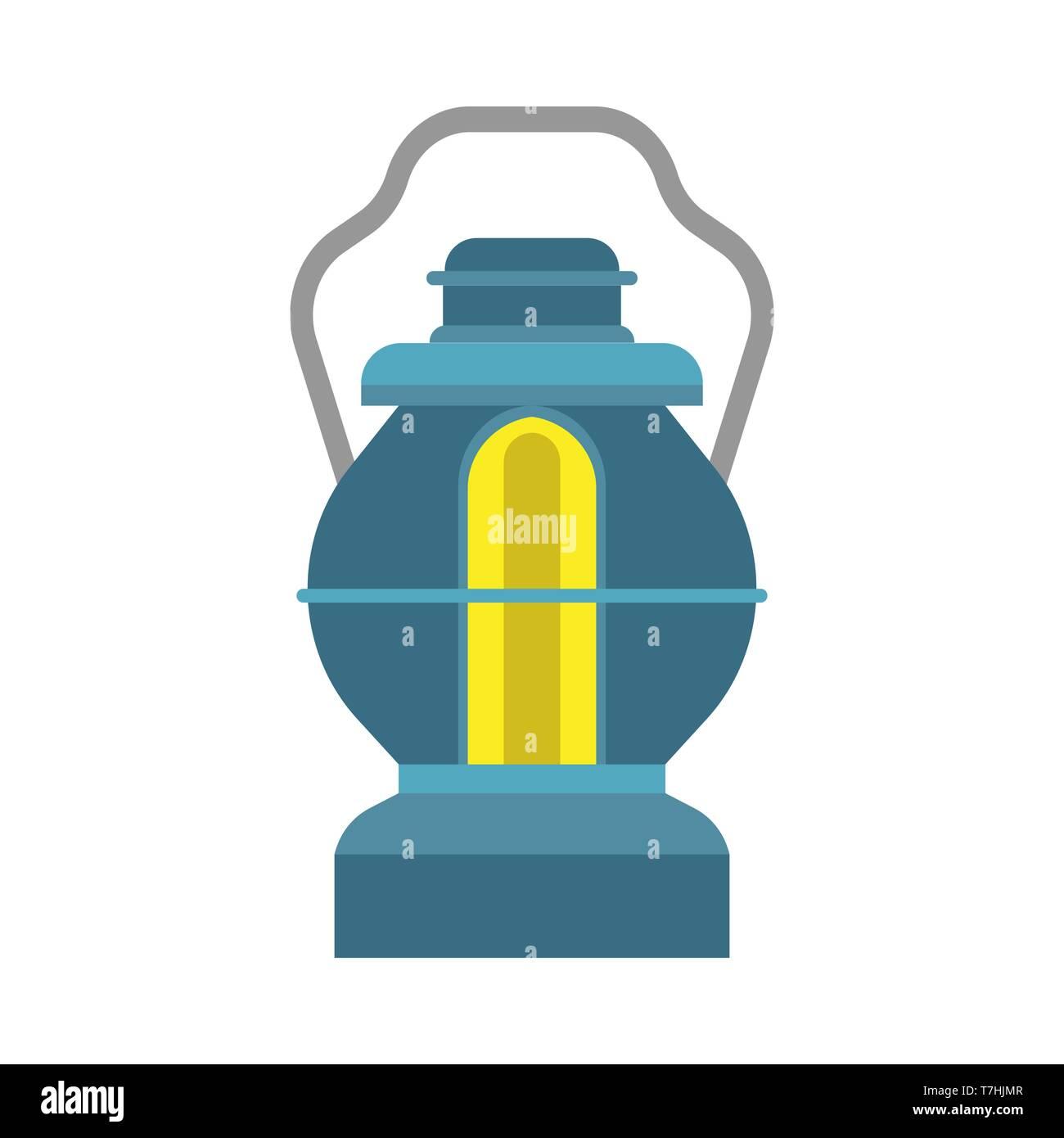 Oil lantern lamp design decoration equipment fuel. Bright aged camp light vintage vector icon. Kerosene night fire - Stock Vector