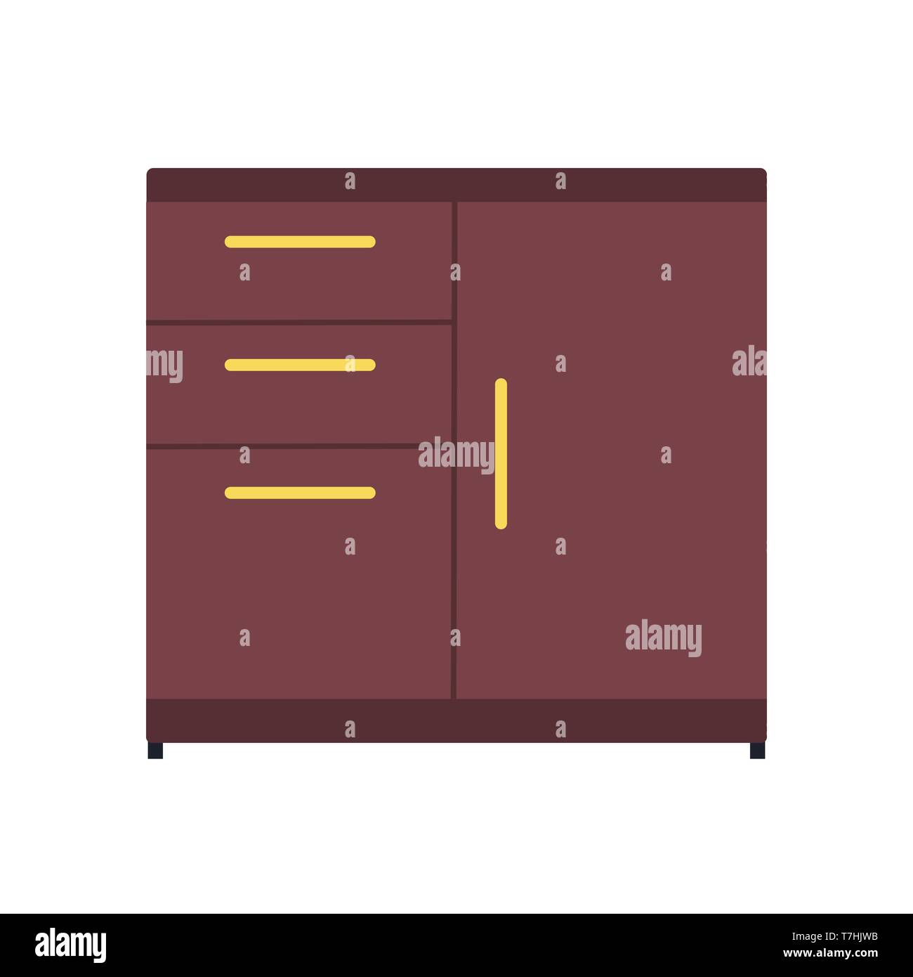 File cabinet drawer archive vector icon. Business document storage office folder datum. Catalog furniture box - Stock Image