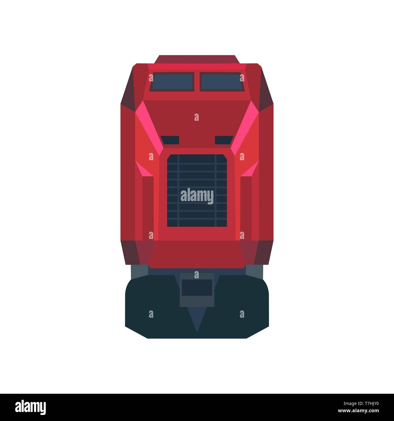 Railway train transportation vector icon front view. Travel locomotive railroad subway vehicle. Flat passenger urban public traffic - Stock Image