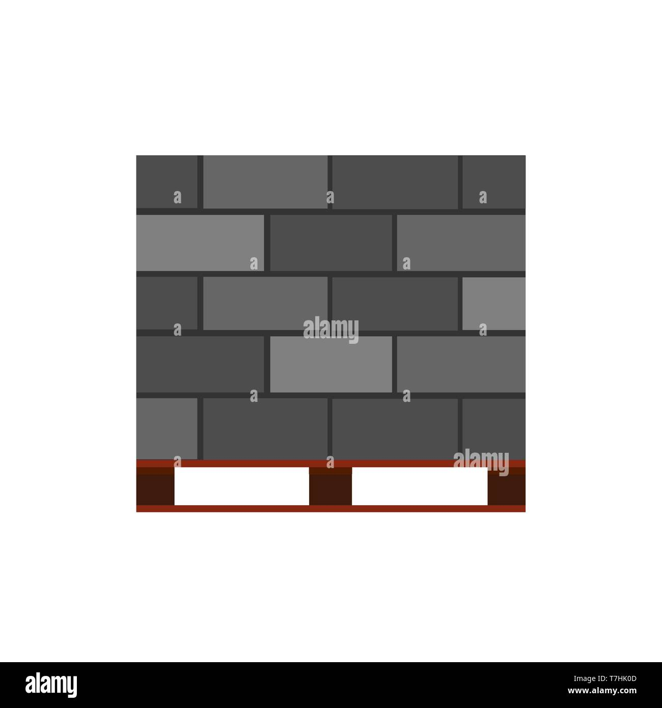Concrete block brick vector icon construction material. Cement building architecture wall. Stone industry masonry brickwork - Stock Vector